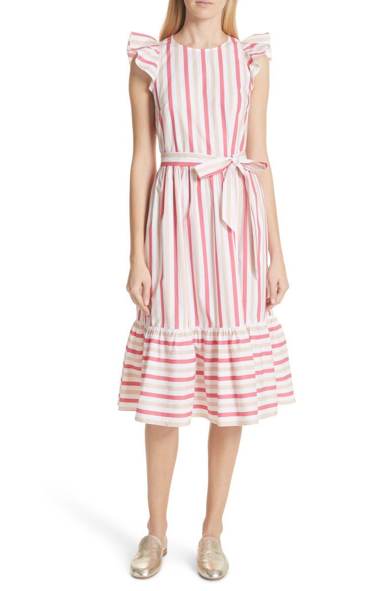 stripe poplin midi dress