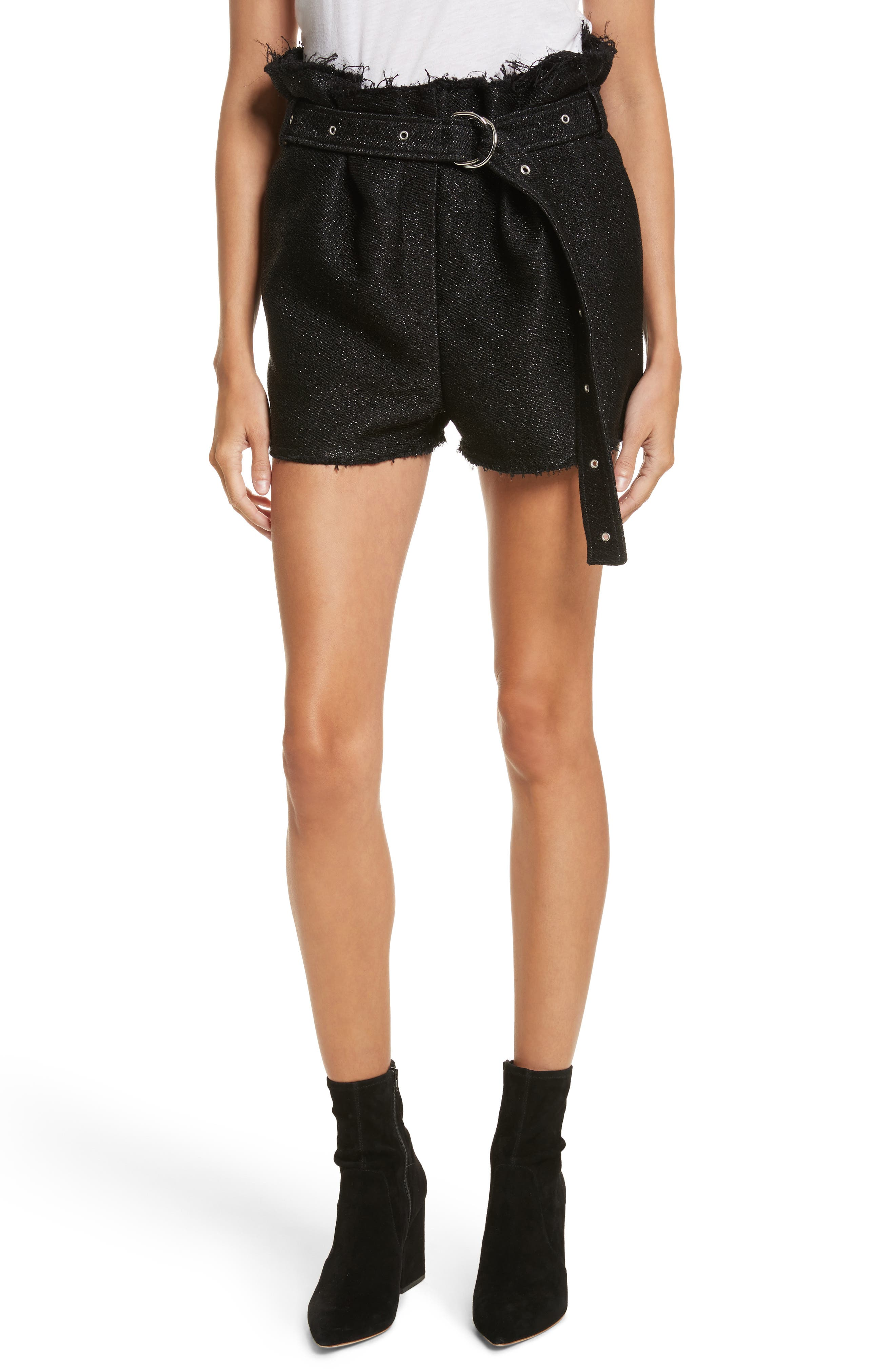 Chopan Belted Paper Bag Shorts,                         Main,                         color, Black