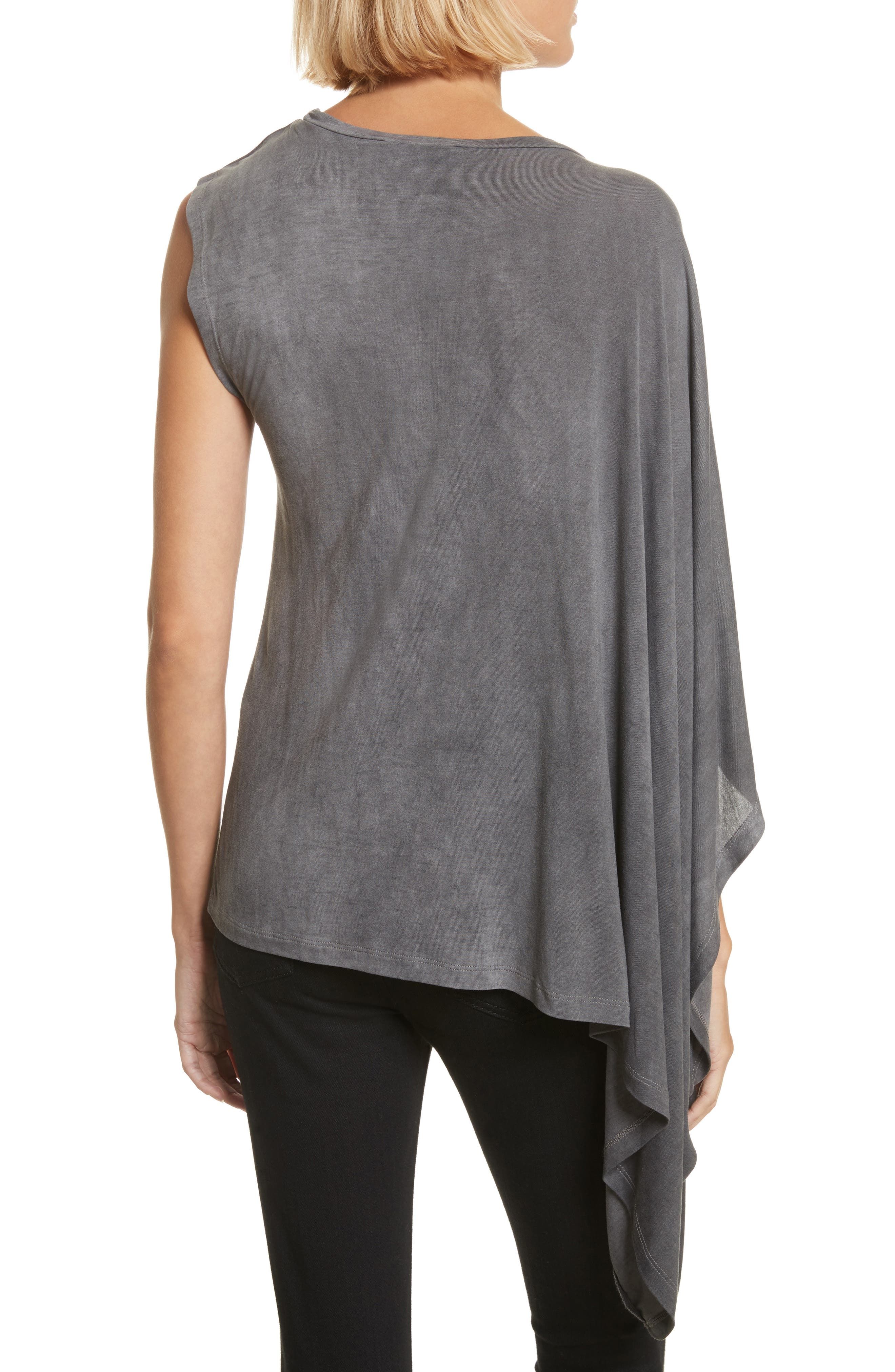Eloaz Asymmetrical Draped Top,                             Alternate thumbnail 2, color,                             Charcoal