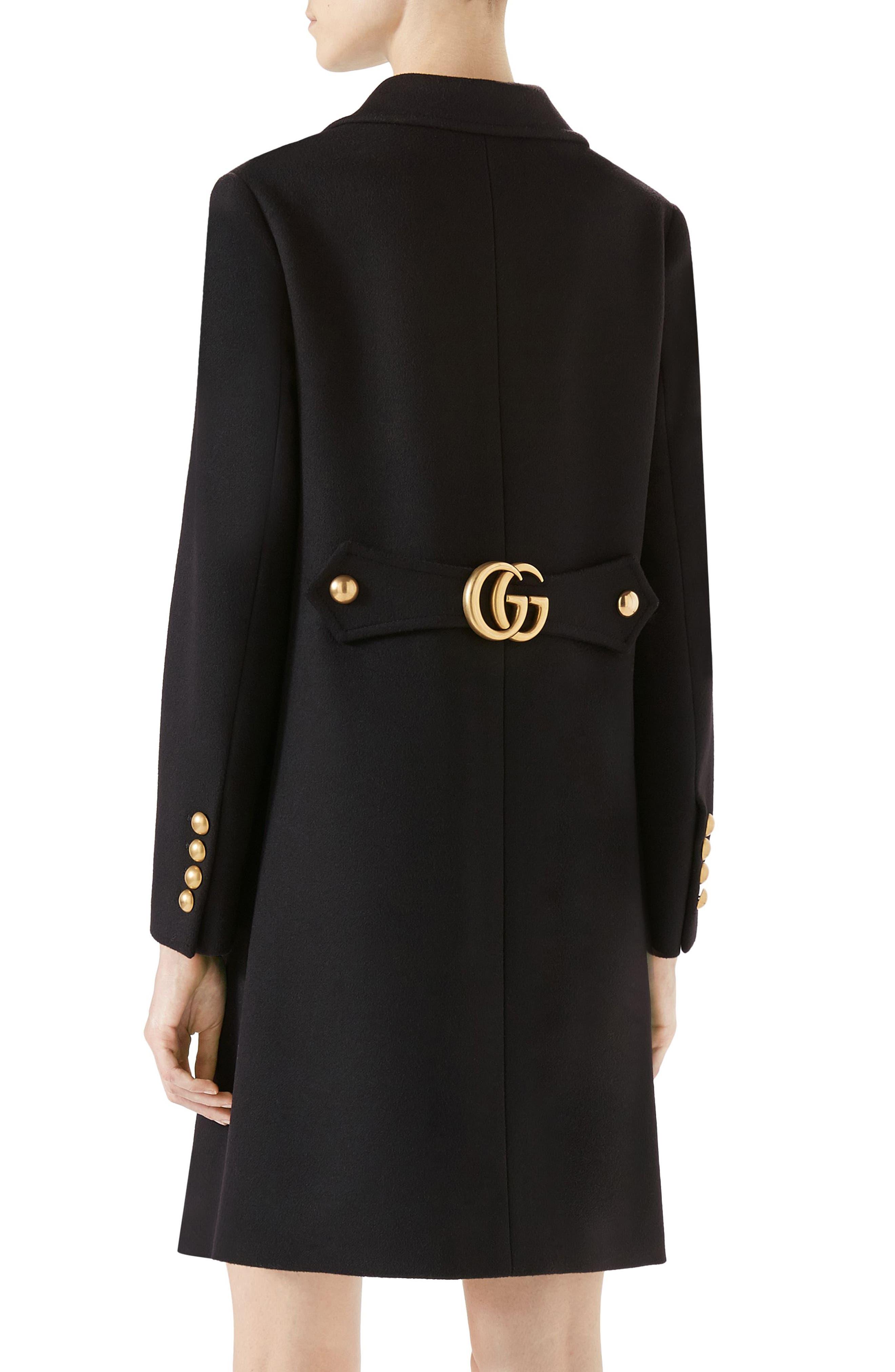 GG Wool Coat,                             Alternate thumbnail 2, color,                             Black
