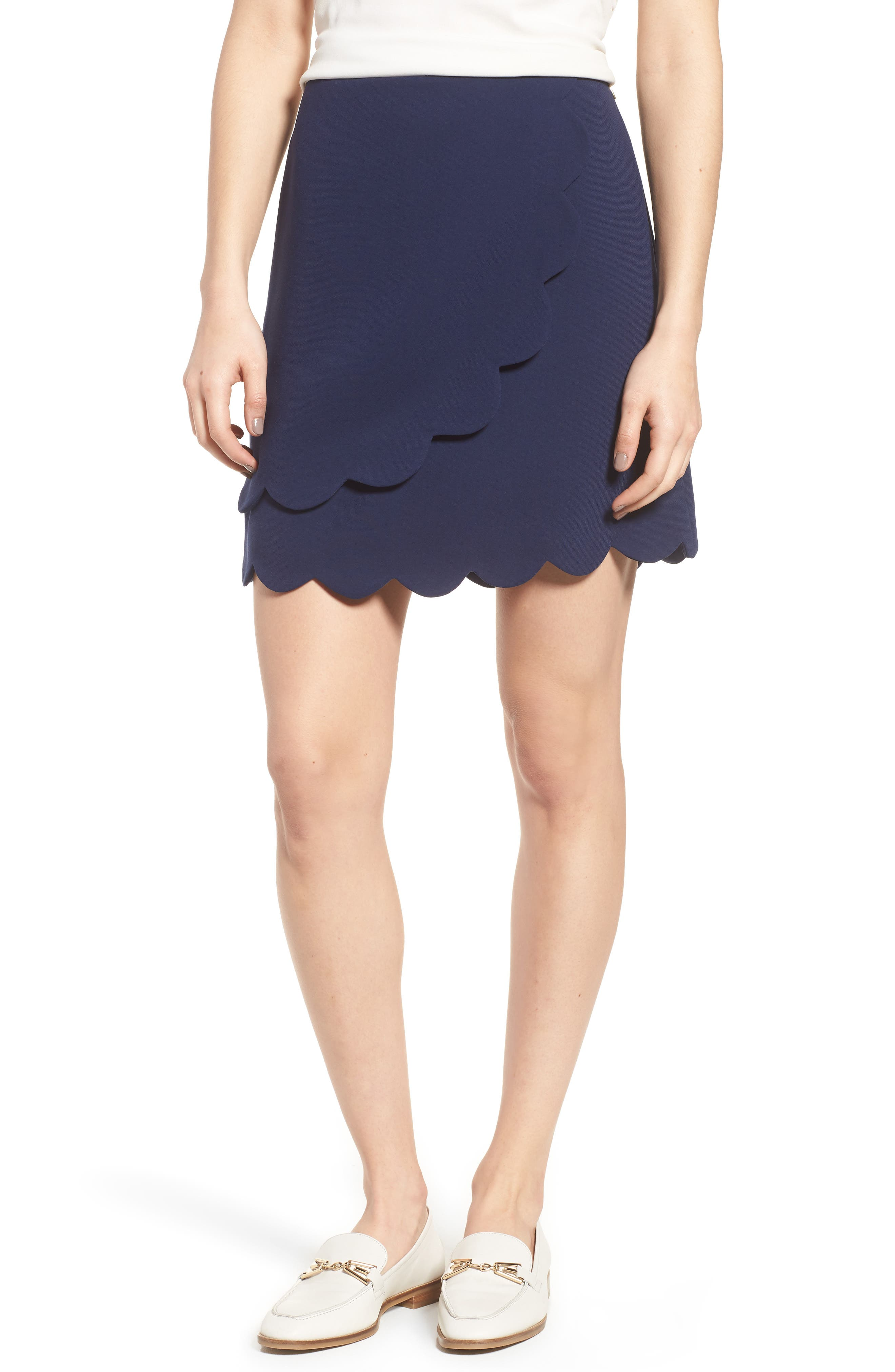 Scallop Skirt,                         Main,                         color, Navy