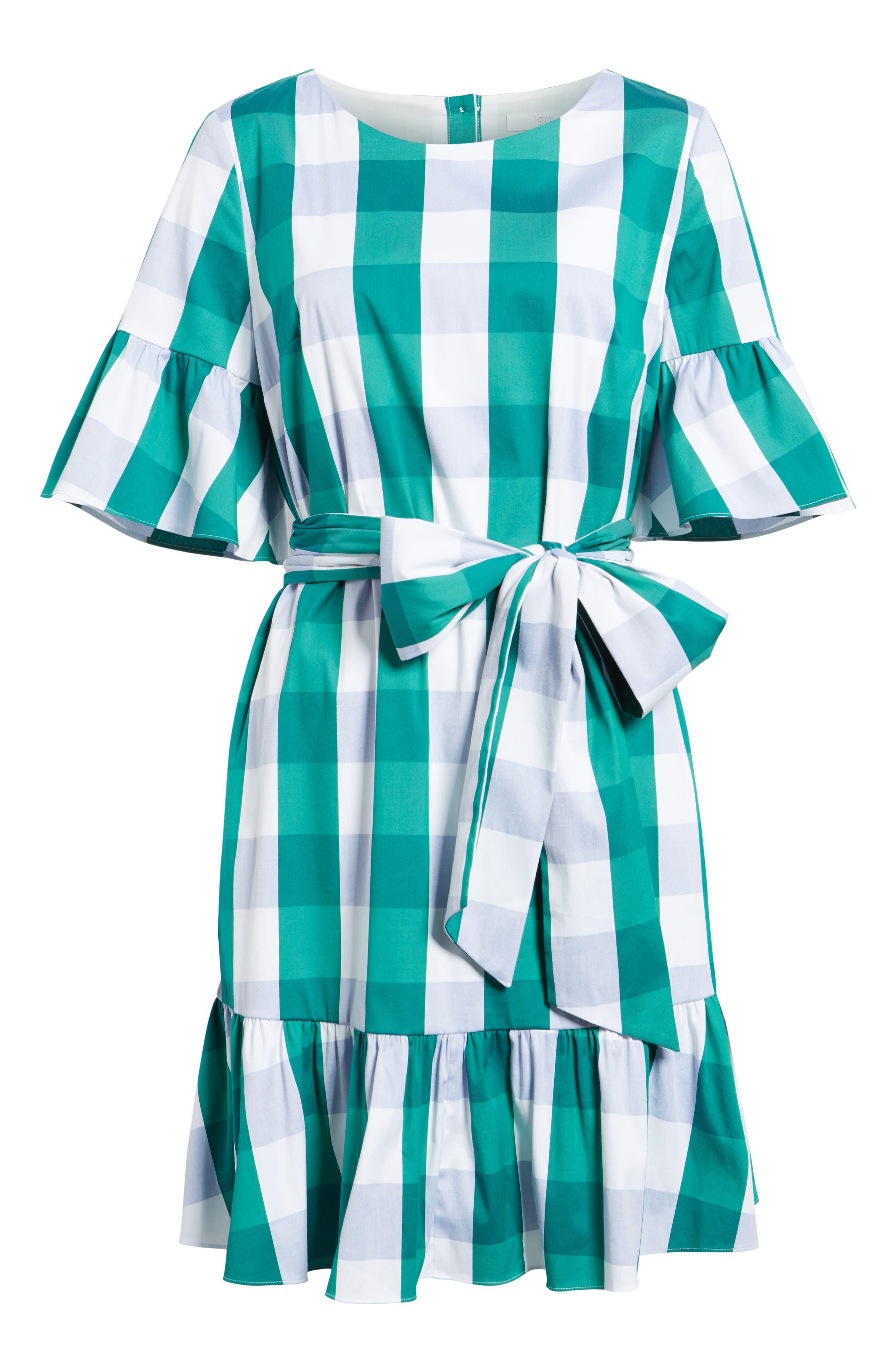 Ruffle & Bow Dress,                             Alternate thumbnail 7, color,                             Green- Blue Gingham