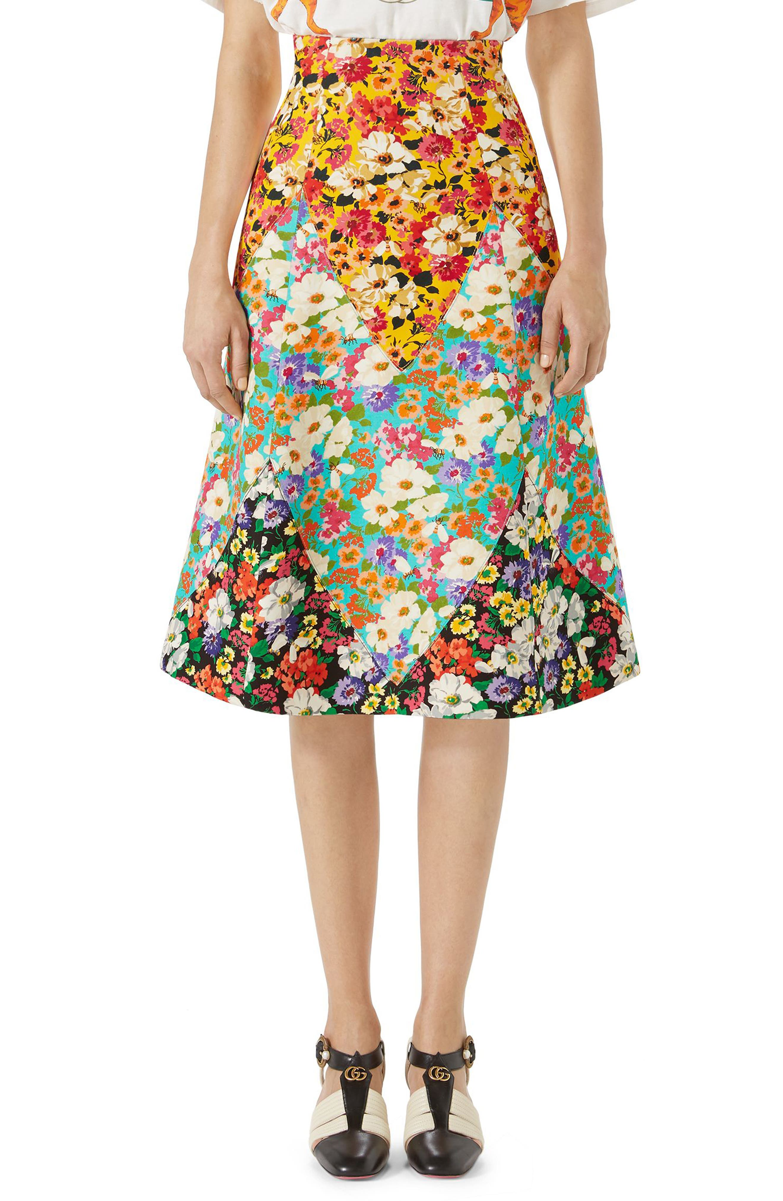 Floral Print Cady A-Line Skirt,                         Main,                         color, Yellow-Multicolor