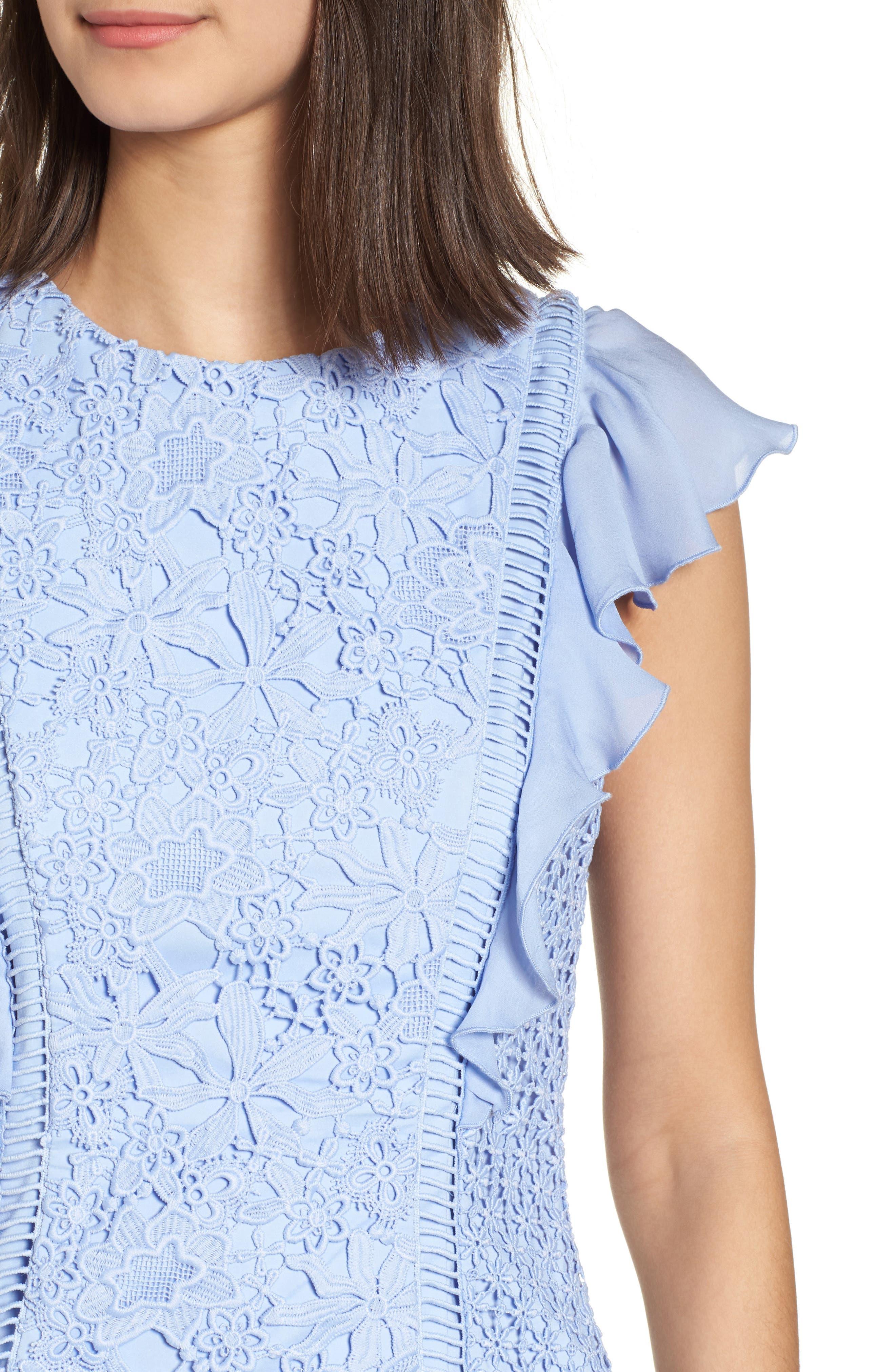 Bennett Lace Minidress,                             Alternate thumbnail 4, color,                             Lilac Breeze