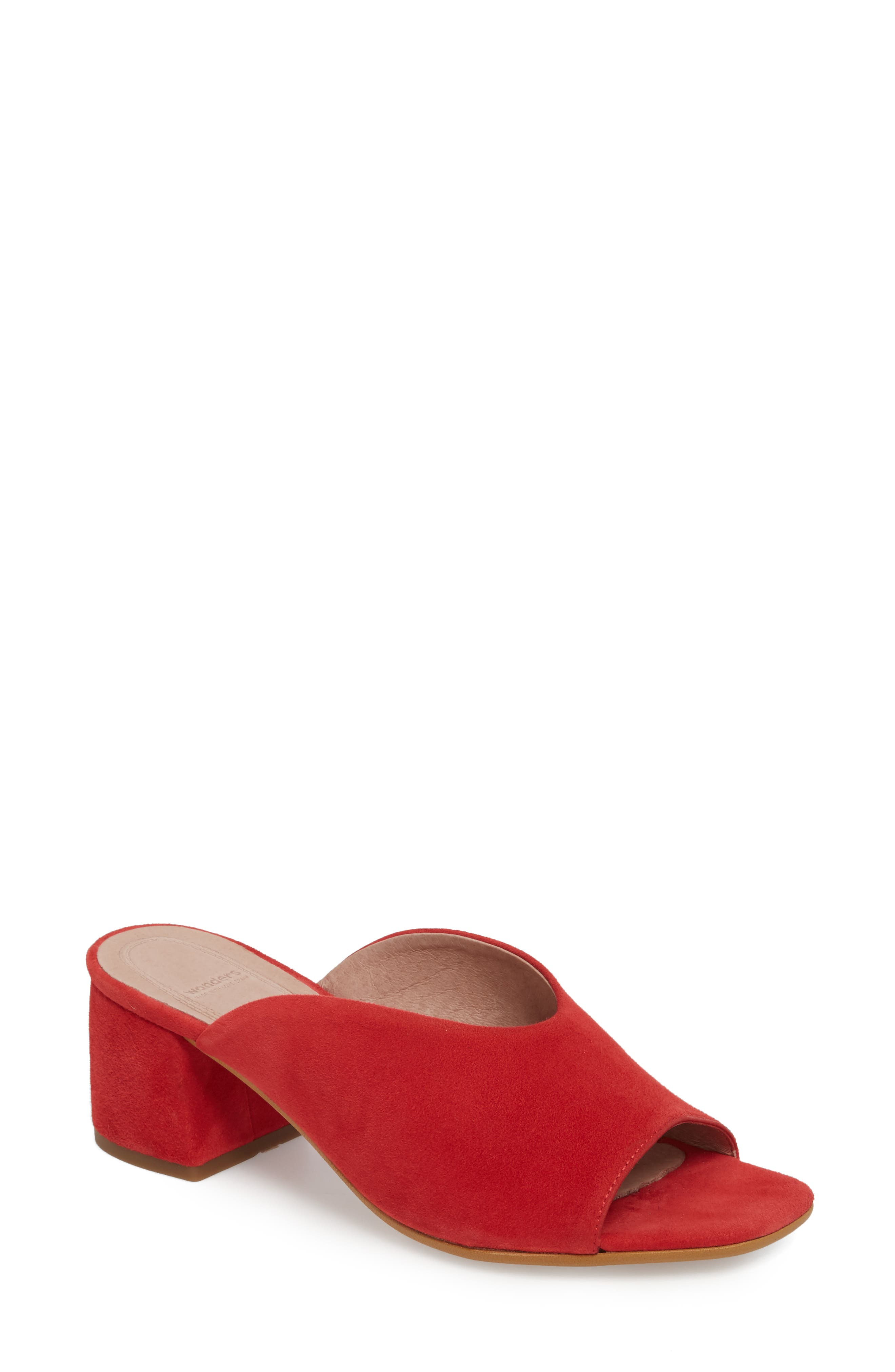 F-6127 Mule,                         Main,                         color, Red Suede