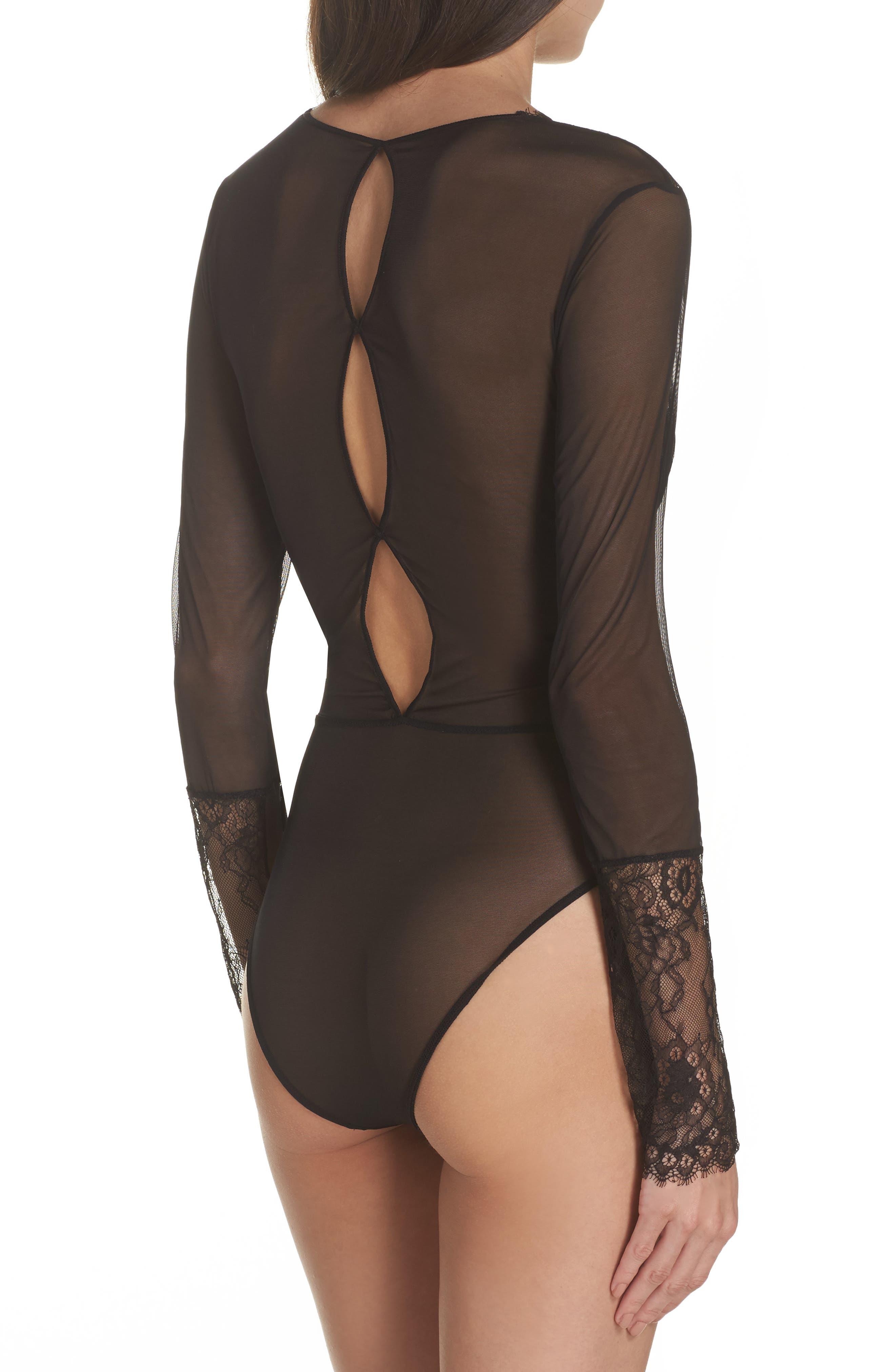 Dossa Lace & Mesh Bodysuit,                             Alternate thumbnail 2, color,                             Black
