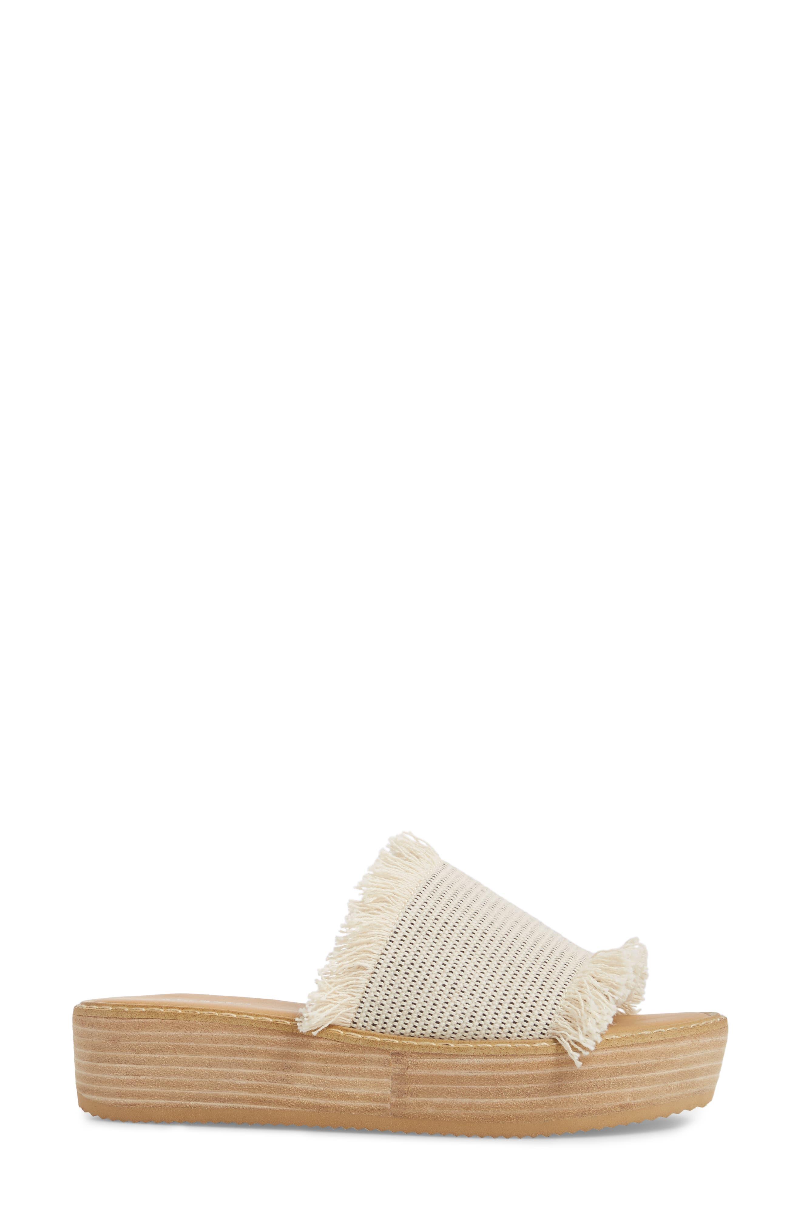 Ebony Platform Sandal,                             Alternate thumbnail 3, color,                             White/ Black Osaka Fabric