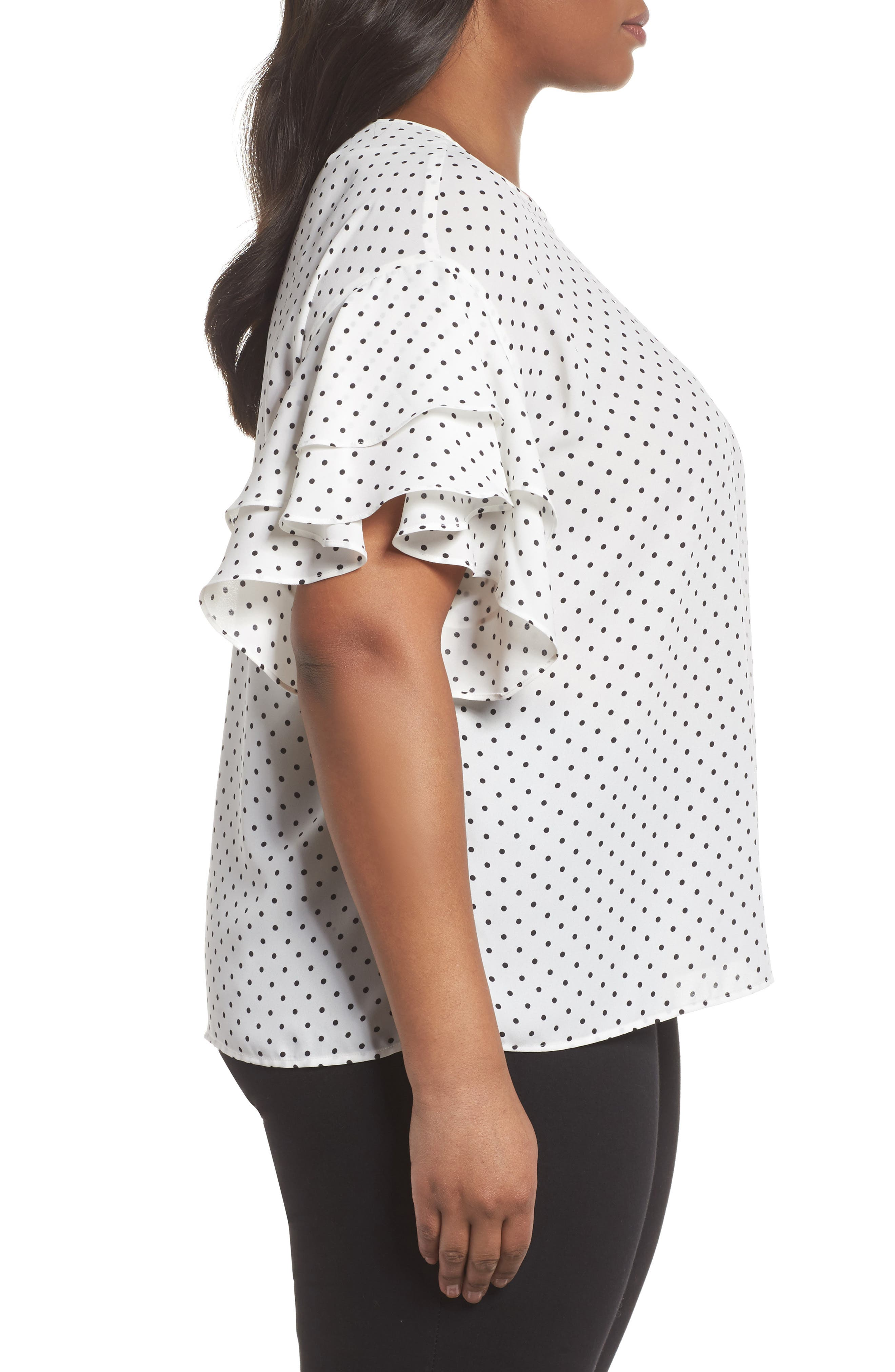 Poetic Dots Tiered Ruffle Sleeve Blouse,                             Alternate thumbnail 3, color,                             New Ivory