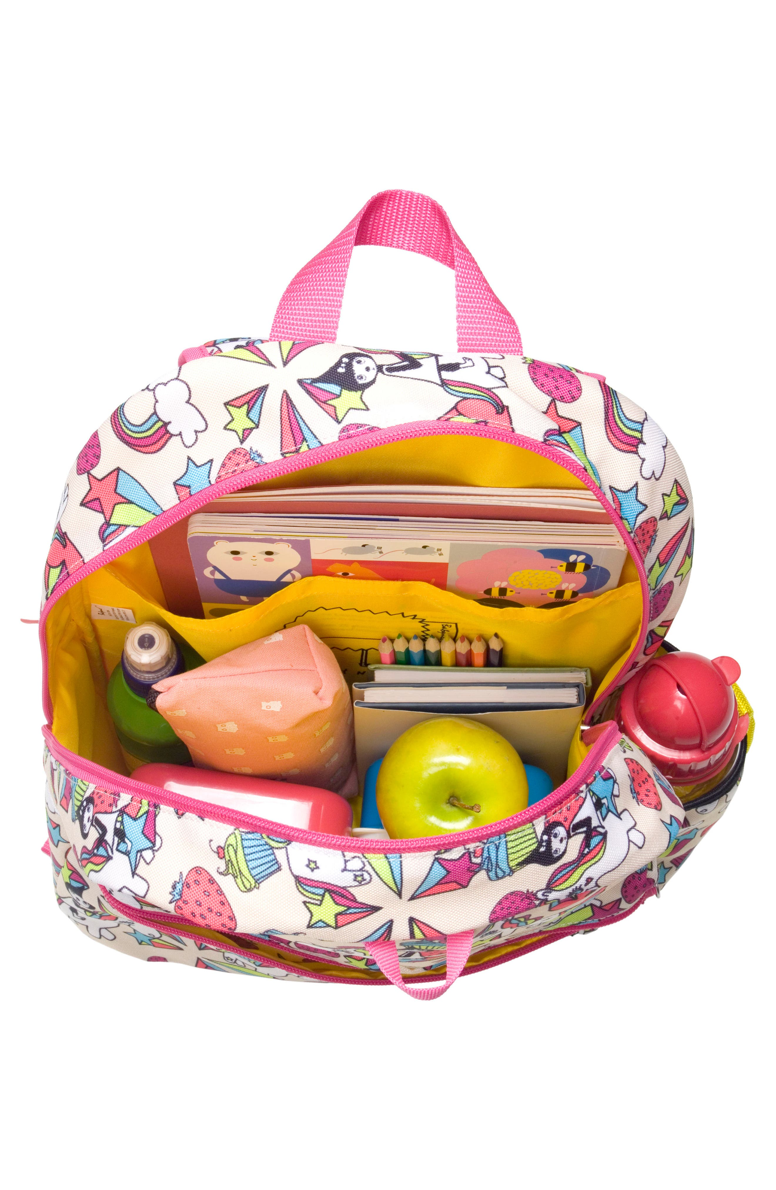 Zip & Zoe Unicorn Junior Backpack,                             Alternate thumbnail 4, color,                             White