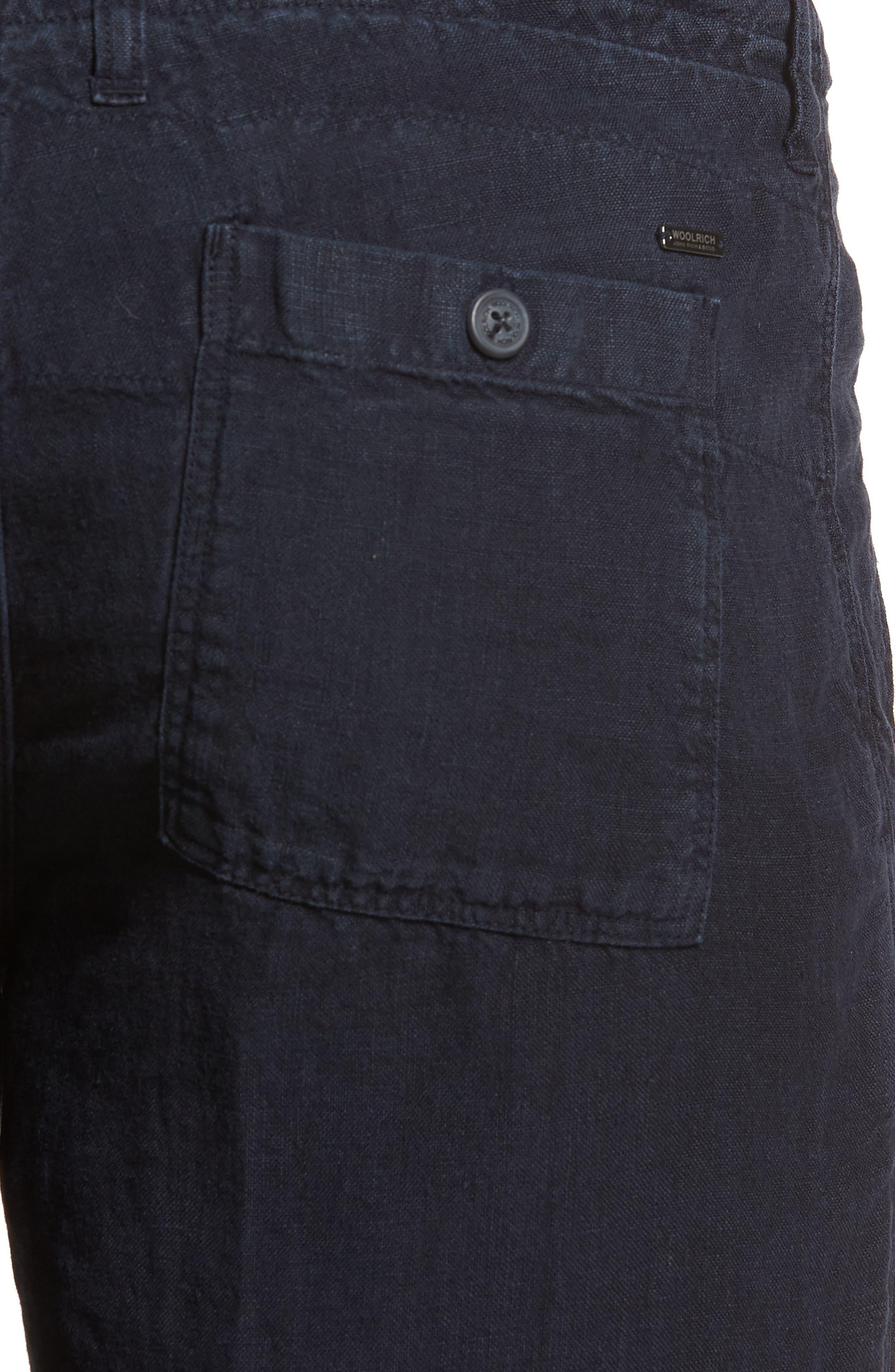 & Bros. Linen Shorts,                             Alternate thumbnail 4, color,                             Alpine Navy
