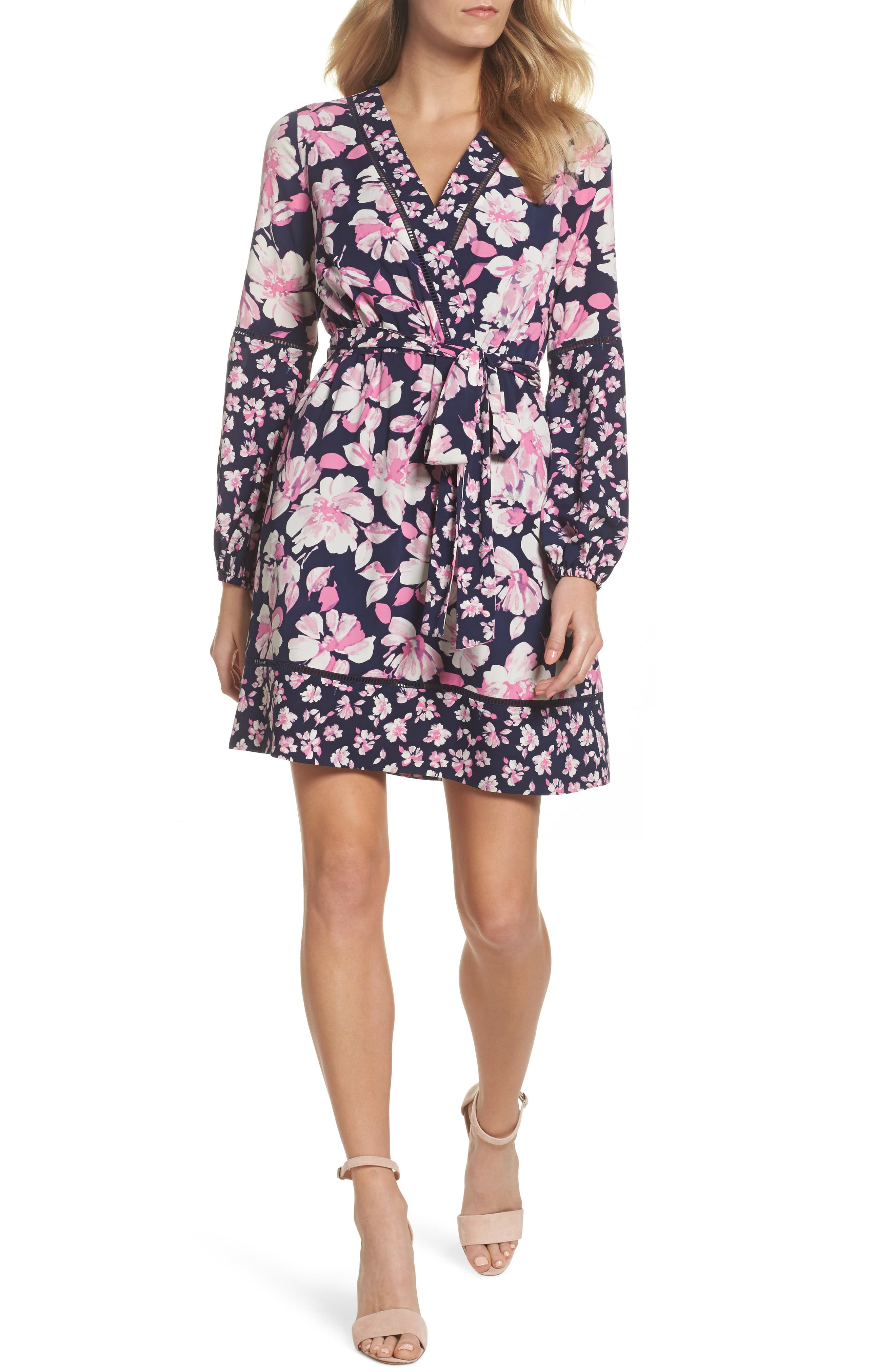 Print Faux Wrap Dress,                             Main thumbnail 1, color,                             Navy/ Pink