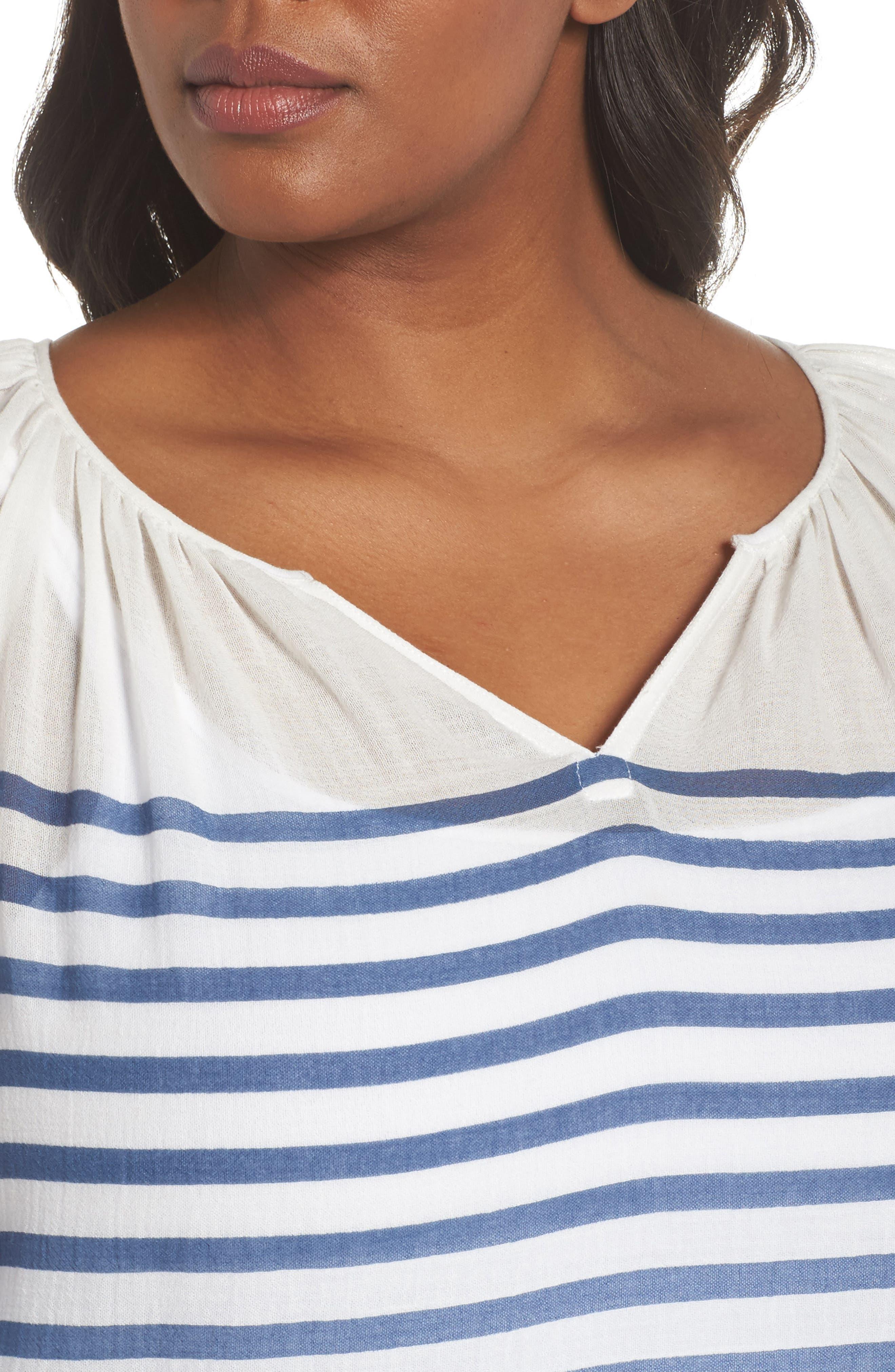 Stripe Peasant Blouse,                             Alternate thumbnail 4, color,                             Patina Blue