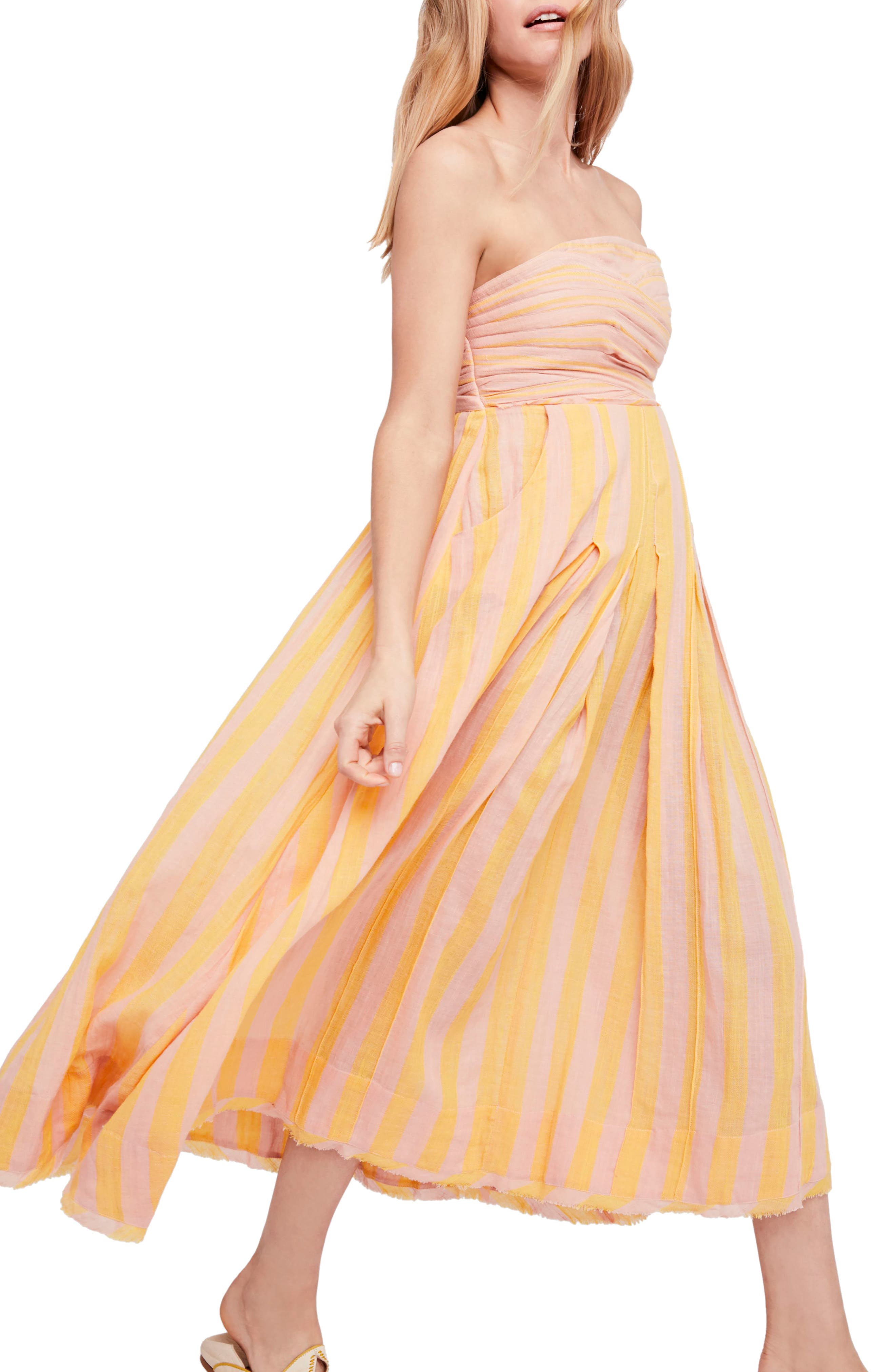 Stripe Me Up Strapless Midi Dress,                         Main,                         color, Yellow Combo