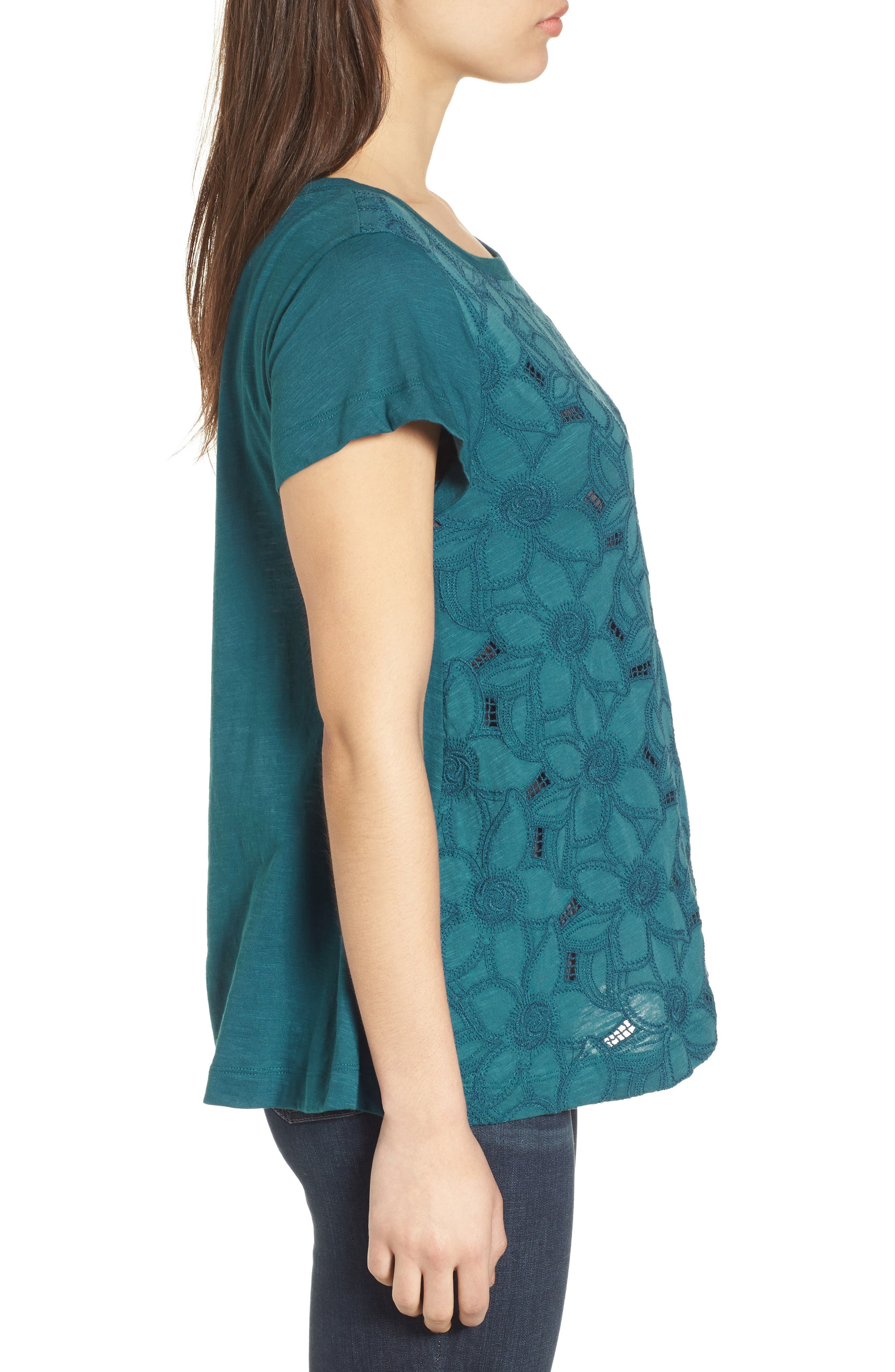Embroidered Overlay Swing Top,                             Alternate thumbnail 3, color,                             Teal Seagate