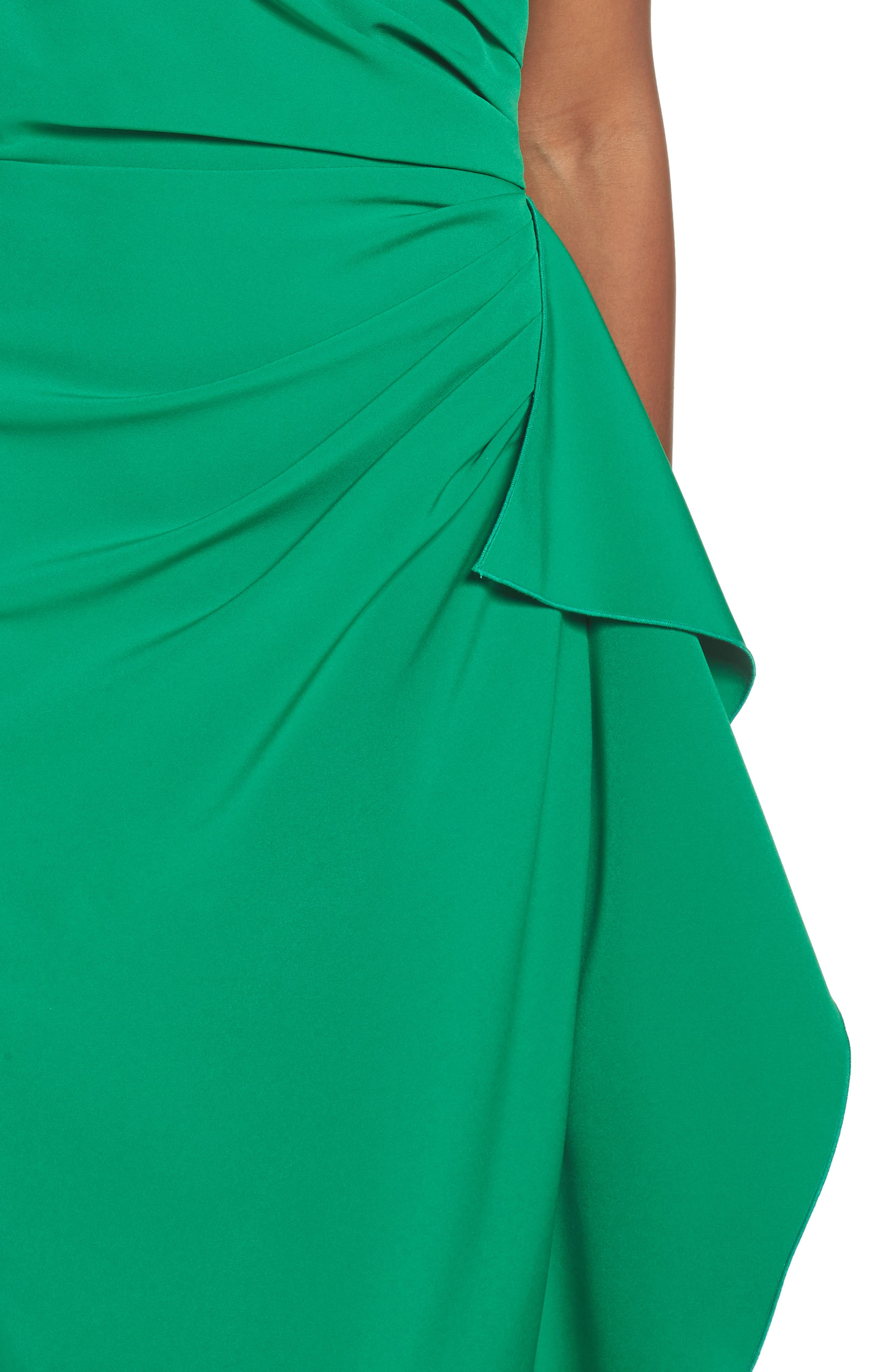 Off the Shoulder Crepe Gown,                             Alternate thumbnail 4, color,                             Green