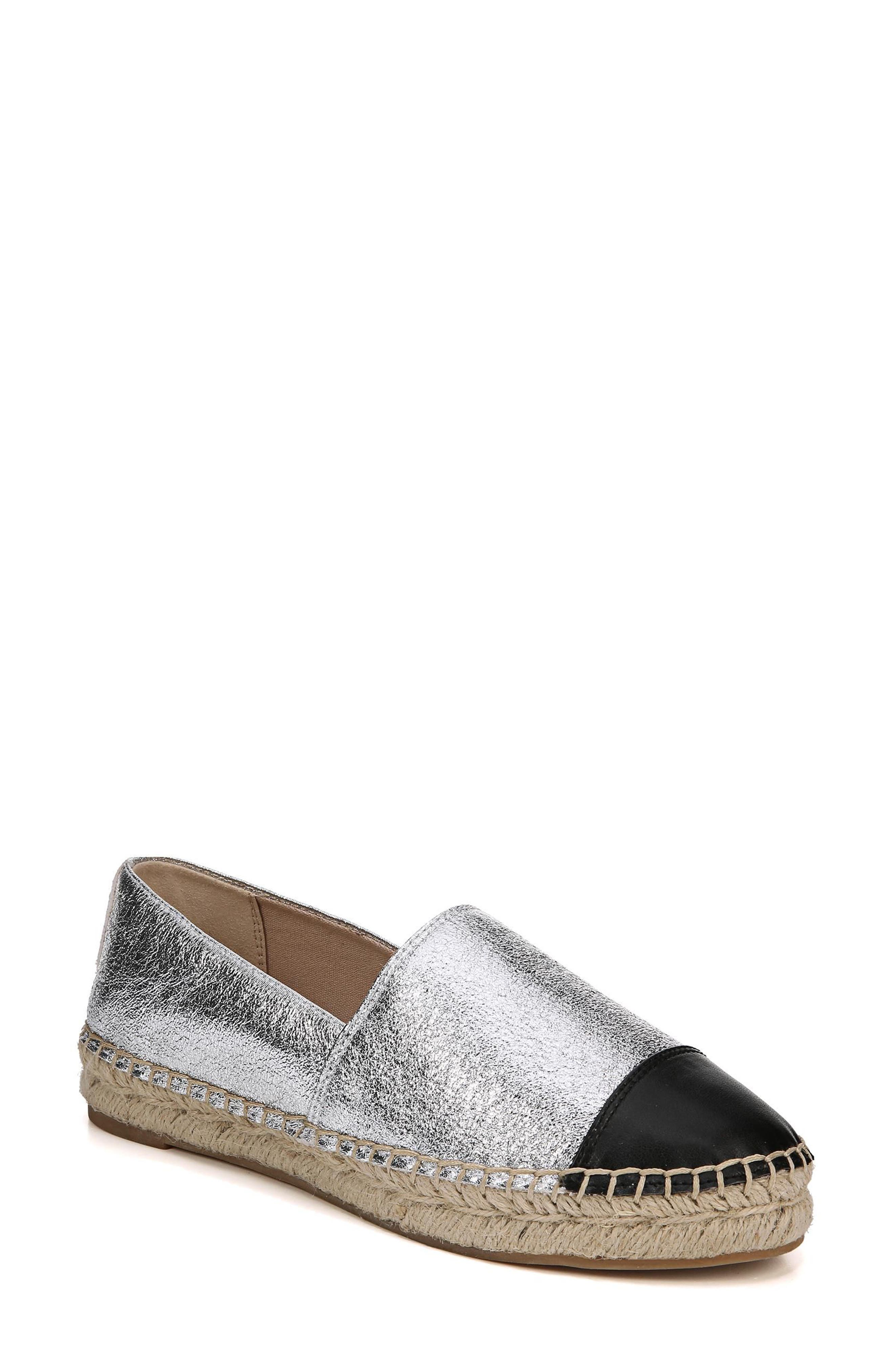 Krissy Espadrille Flat,                         Main,                         color, Soft Silver Fabric