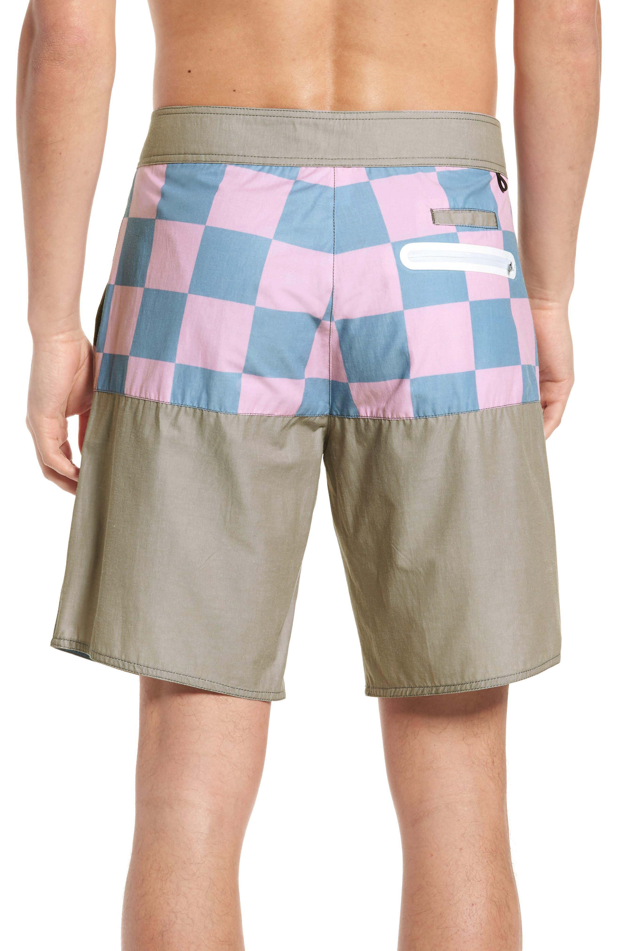 Checkered Board Shorts,                             Alternate thumbnail 2, color,                             Khaki