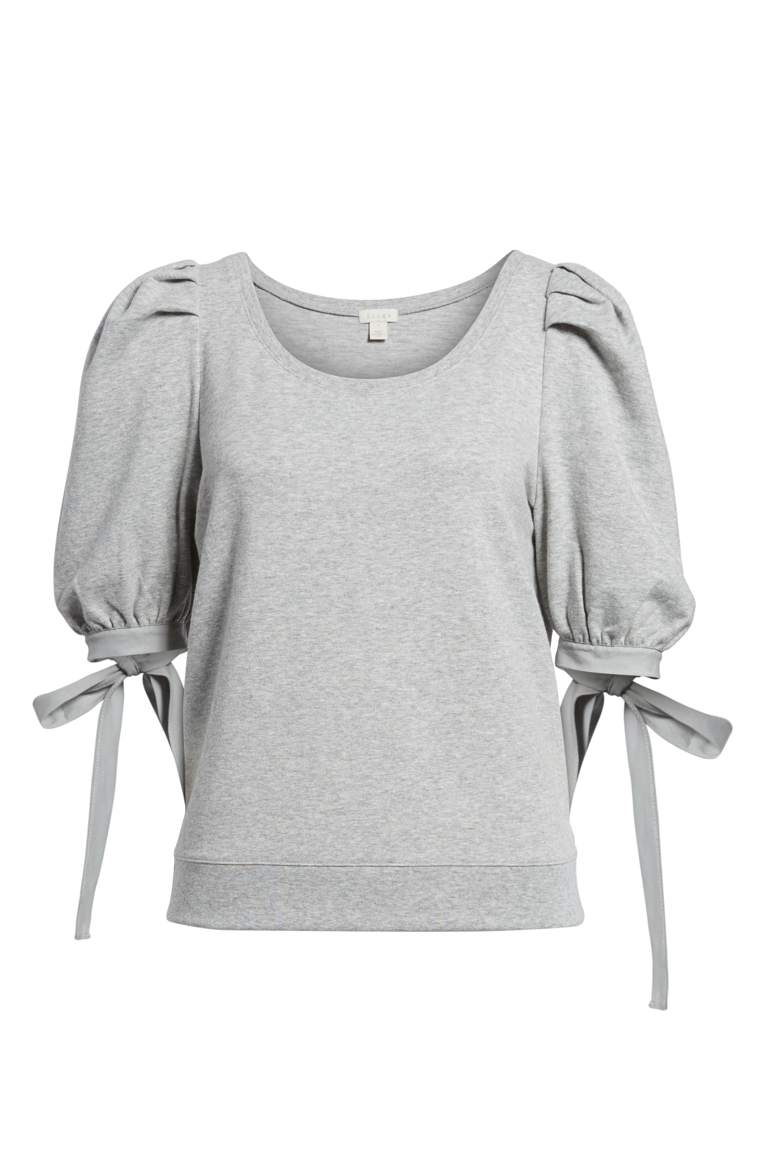 Puff Sleeve Top,                             Alternate thumbnail 6, color,                             Grey Heather