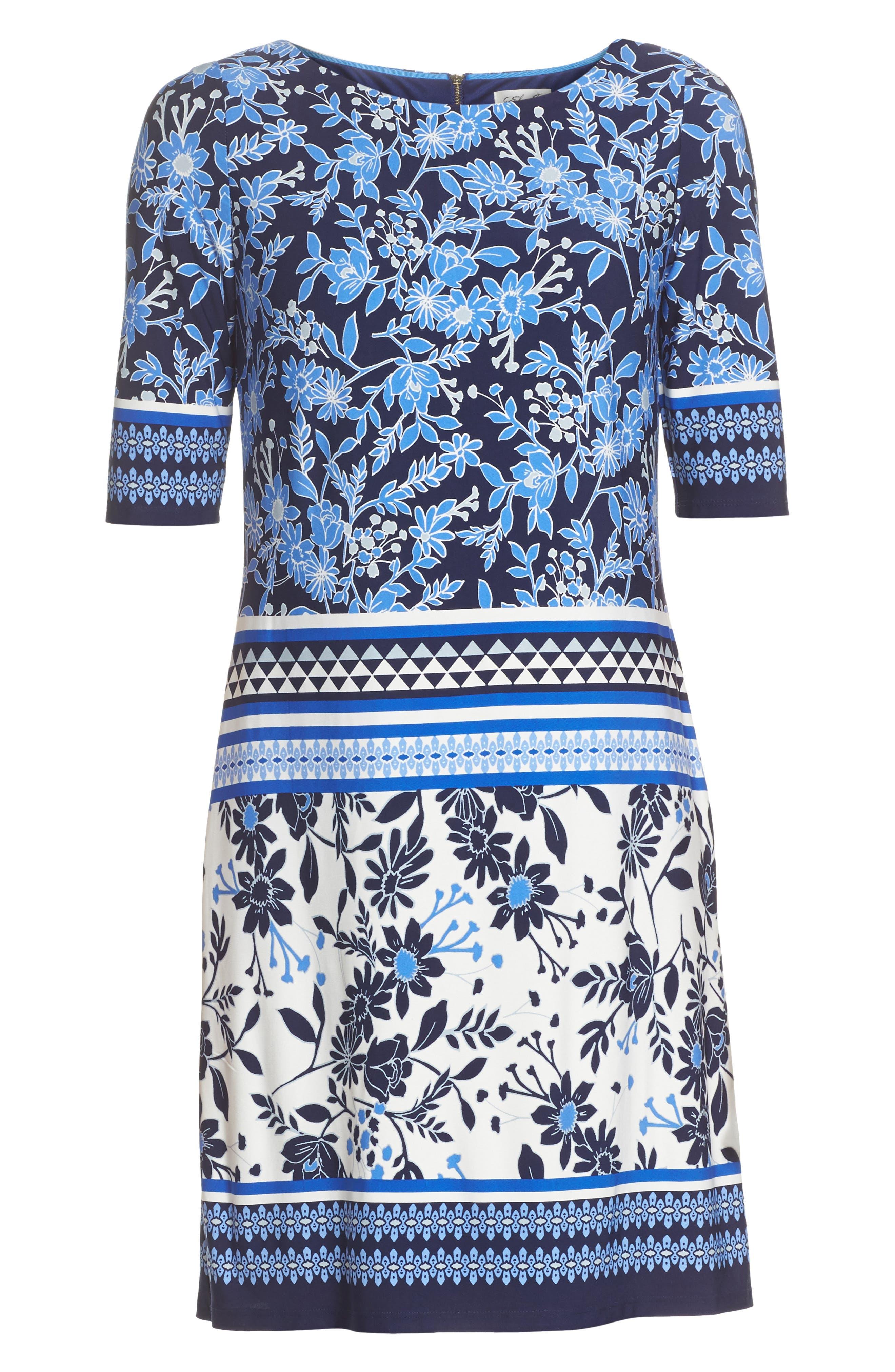 Print Shift Dress,                             Alternate thumbnail 6, color,                             Blue/ Ivory