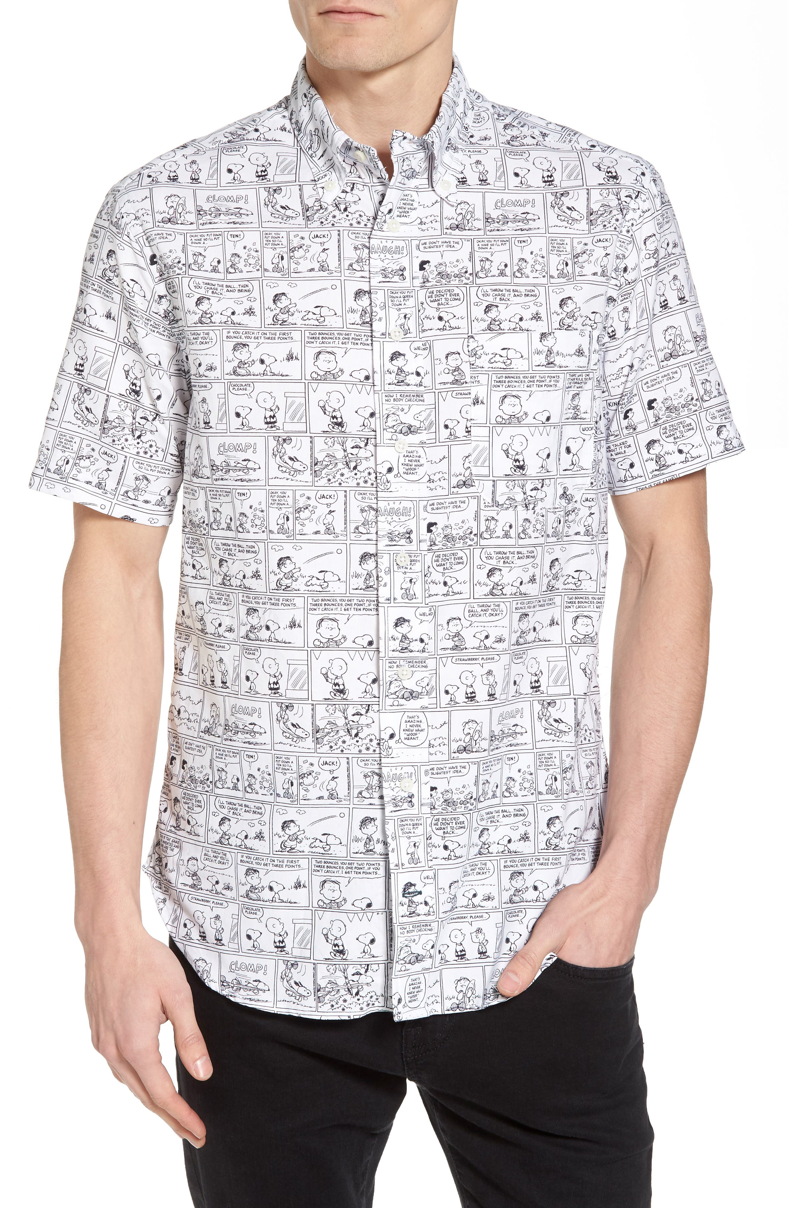 Peanuts Print Short Sleeve Sport Shirt,                             Main thumbnail 1, color,                             Black