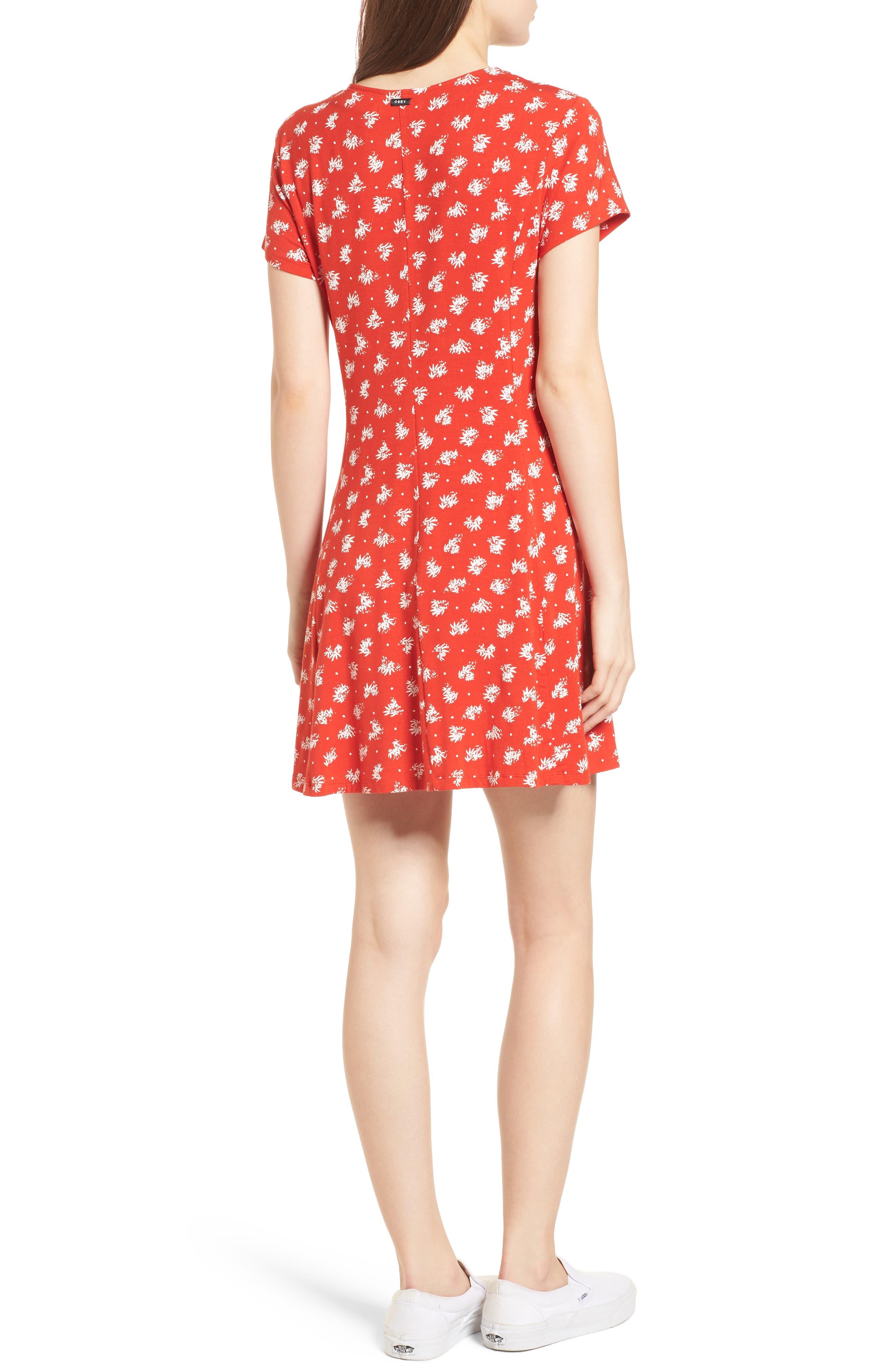 Ella Print Dress,                             Alternate thumbnail 2, color,                             Fiery Red