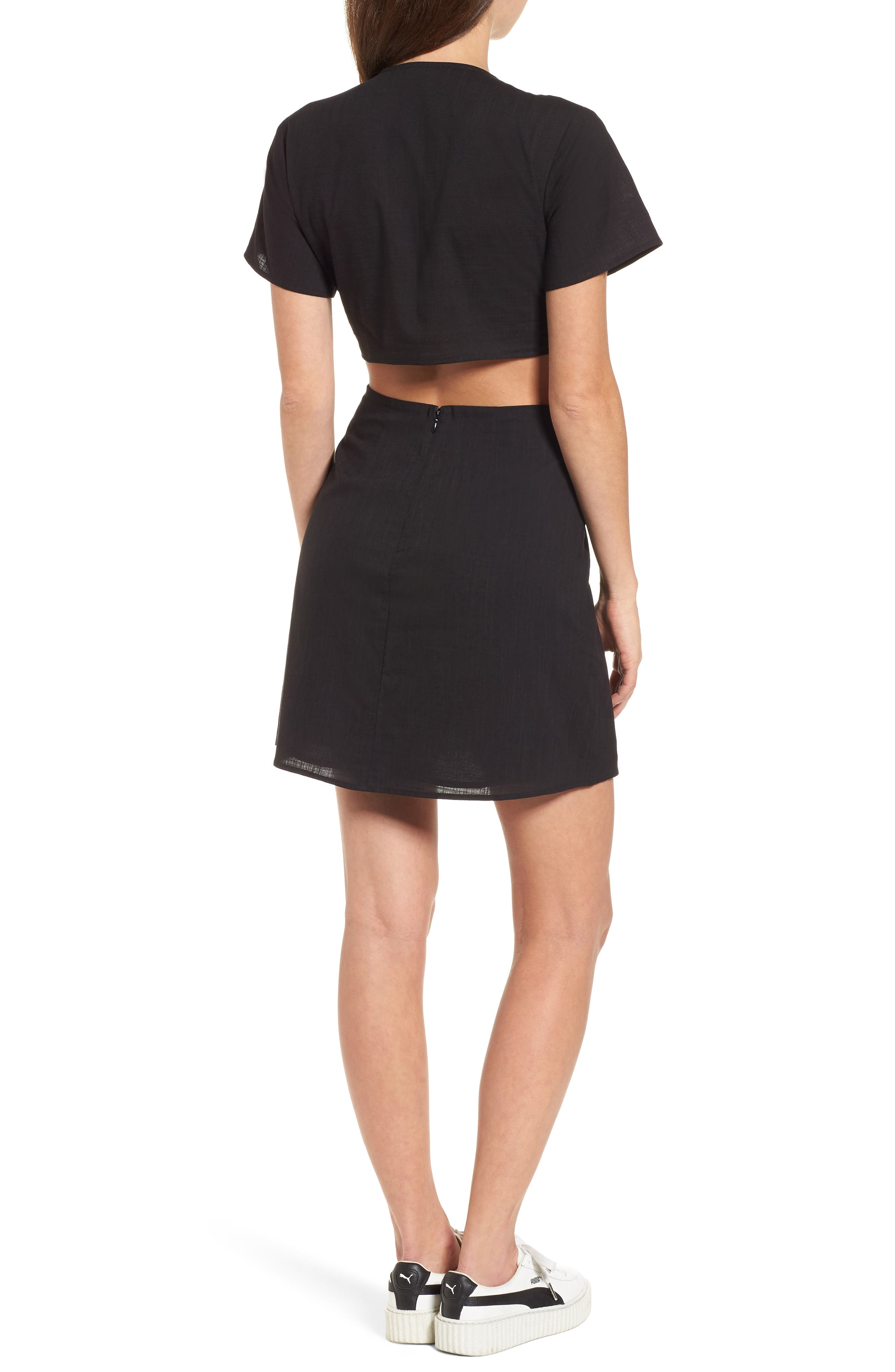 Emily Cutout Minidress,                             Alternate thumbnail 2, color,                             Black