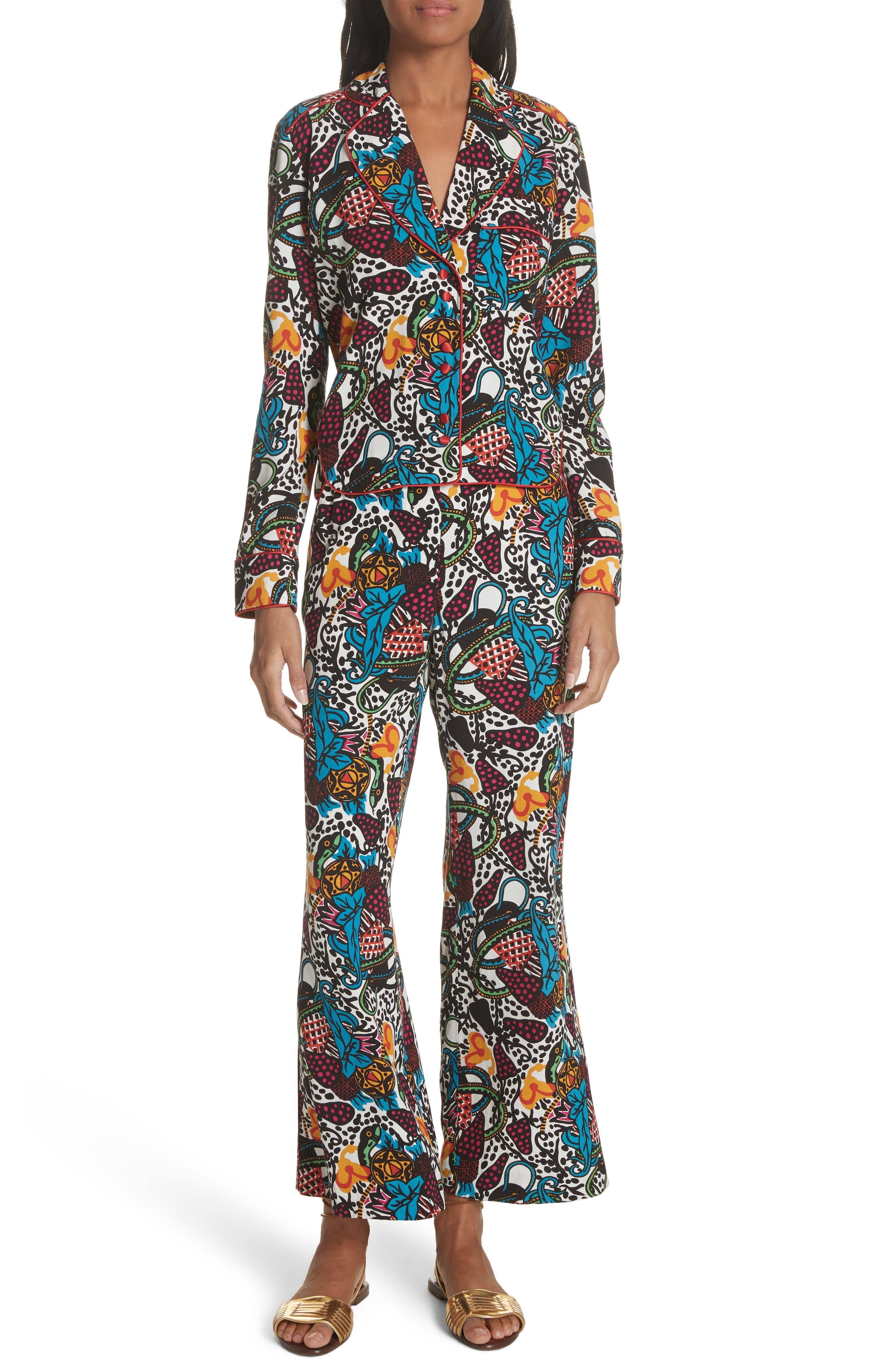 Penelope Pajama Shirt,                             Alternate thumbnail 7, color,                             Off White/ Blue/ Green/ Yellow
