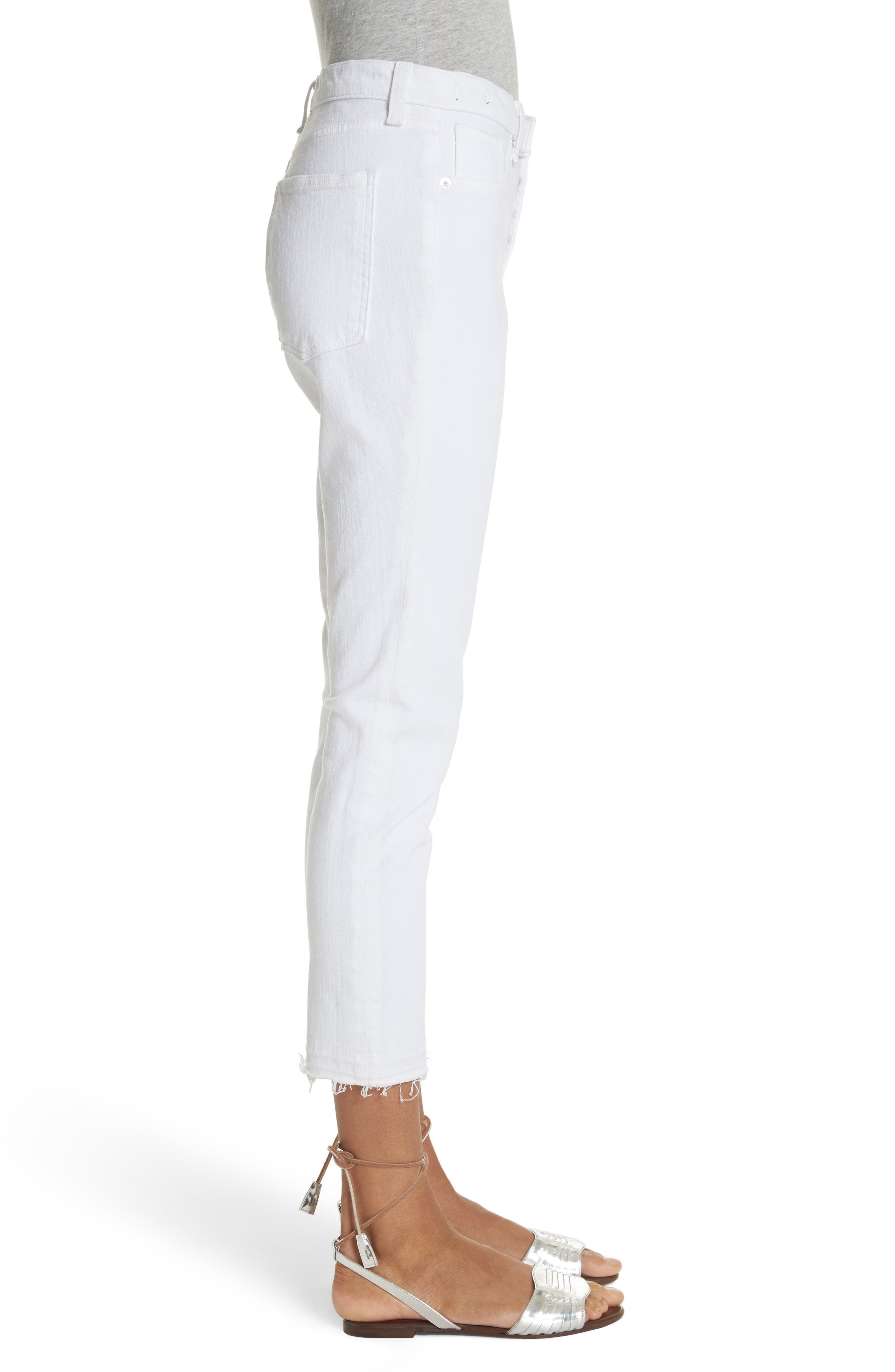 Debbie Frayed Crop Skinny Jeans,                             Alternate thumbnail 3, color,                             White