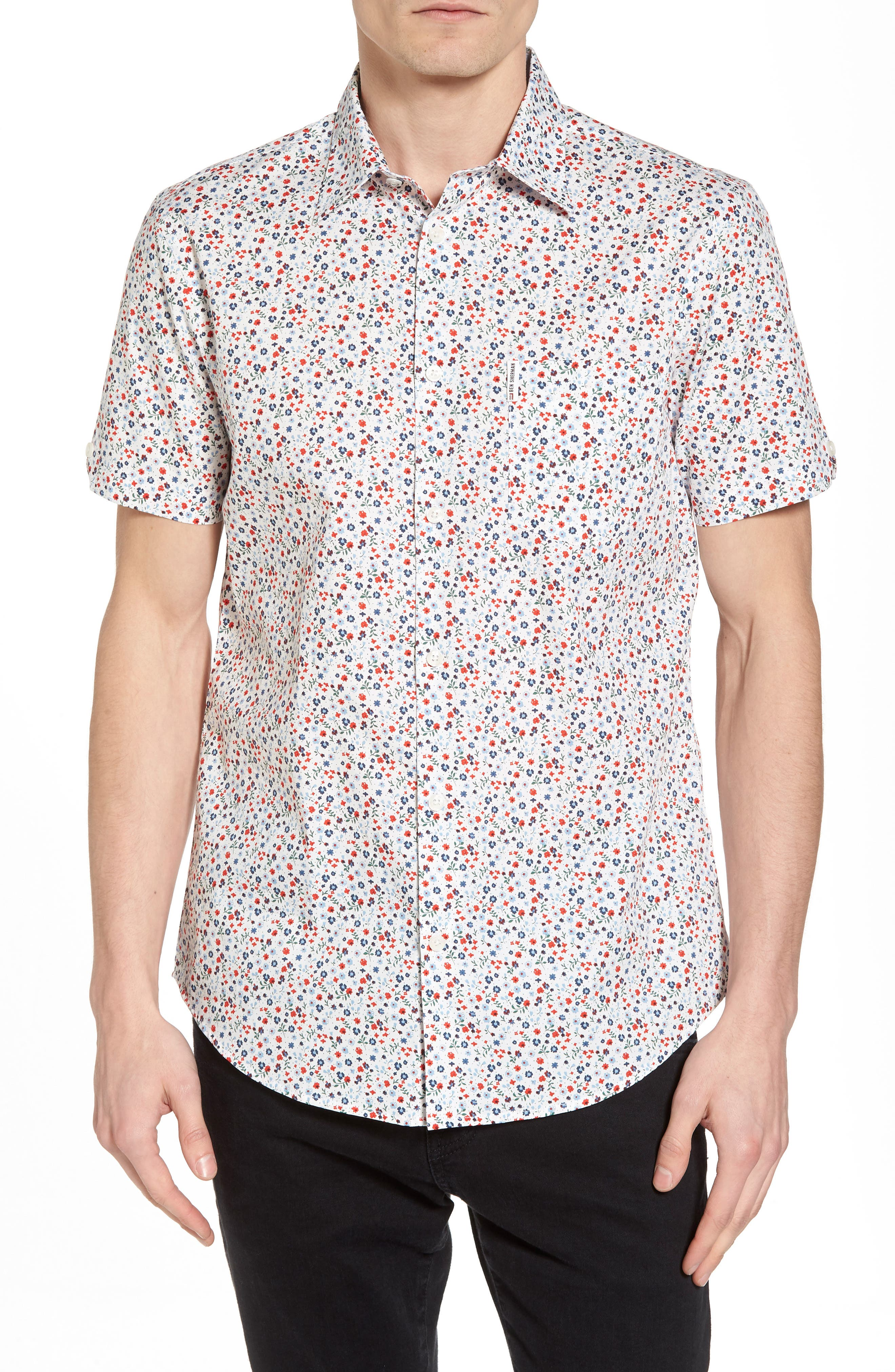 Micro Floral Woven Shirt,                         Main,                         color, White