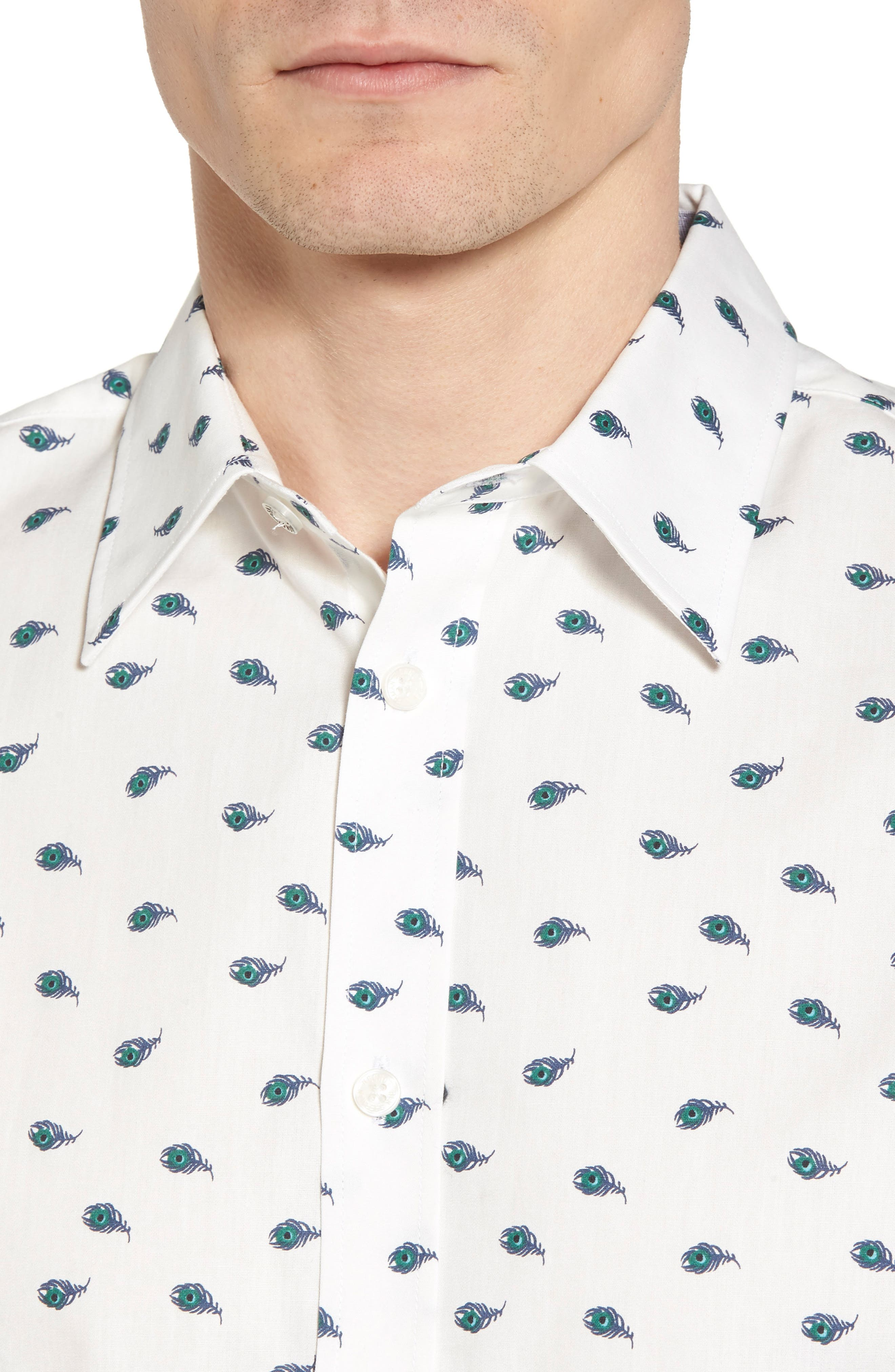 Peacock Feather Woven Shirt,                             Alternate thumbnail 4, color,                             White