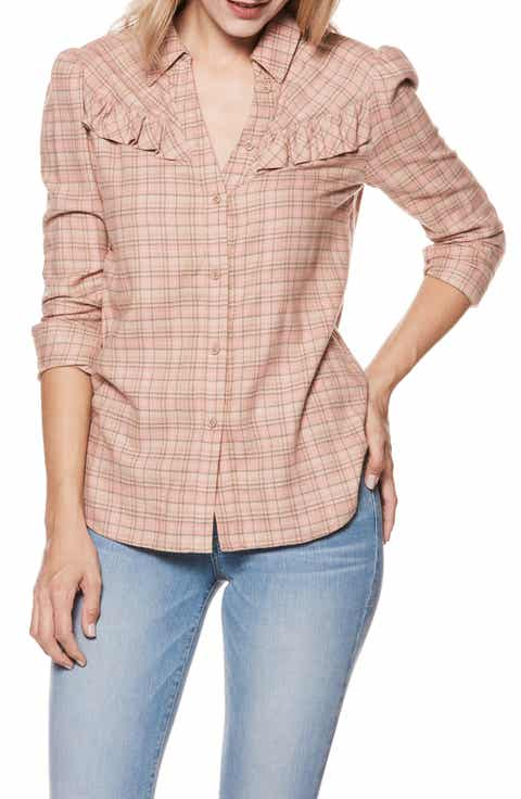 PAIGE Kamie Plaid Ruffle Shirt