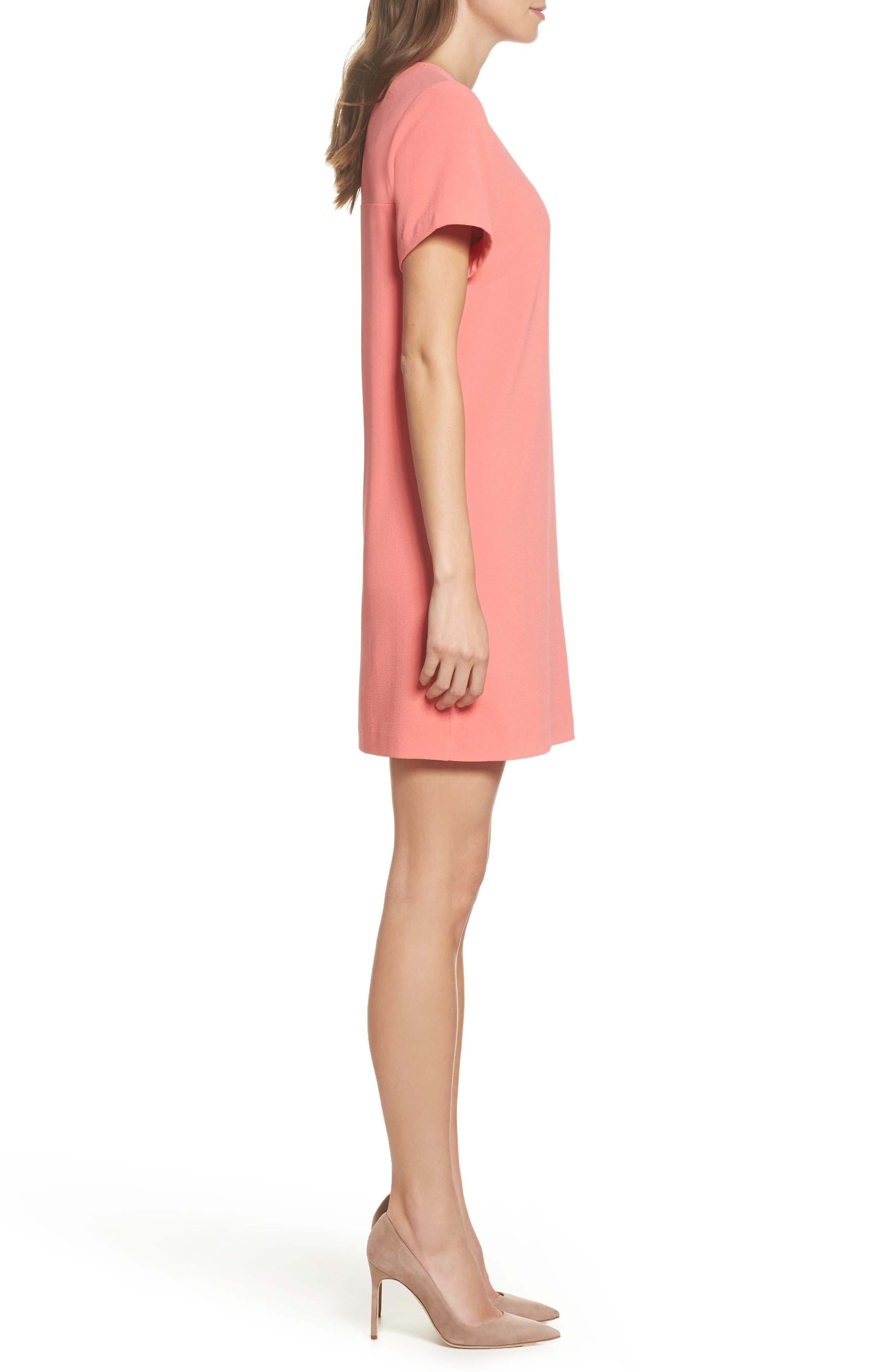 Devery Crepe Shift Dress,                             Alternate thumbnail 3, color,                             Sugar Coral