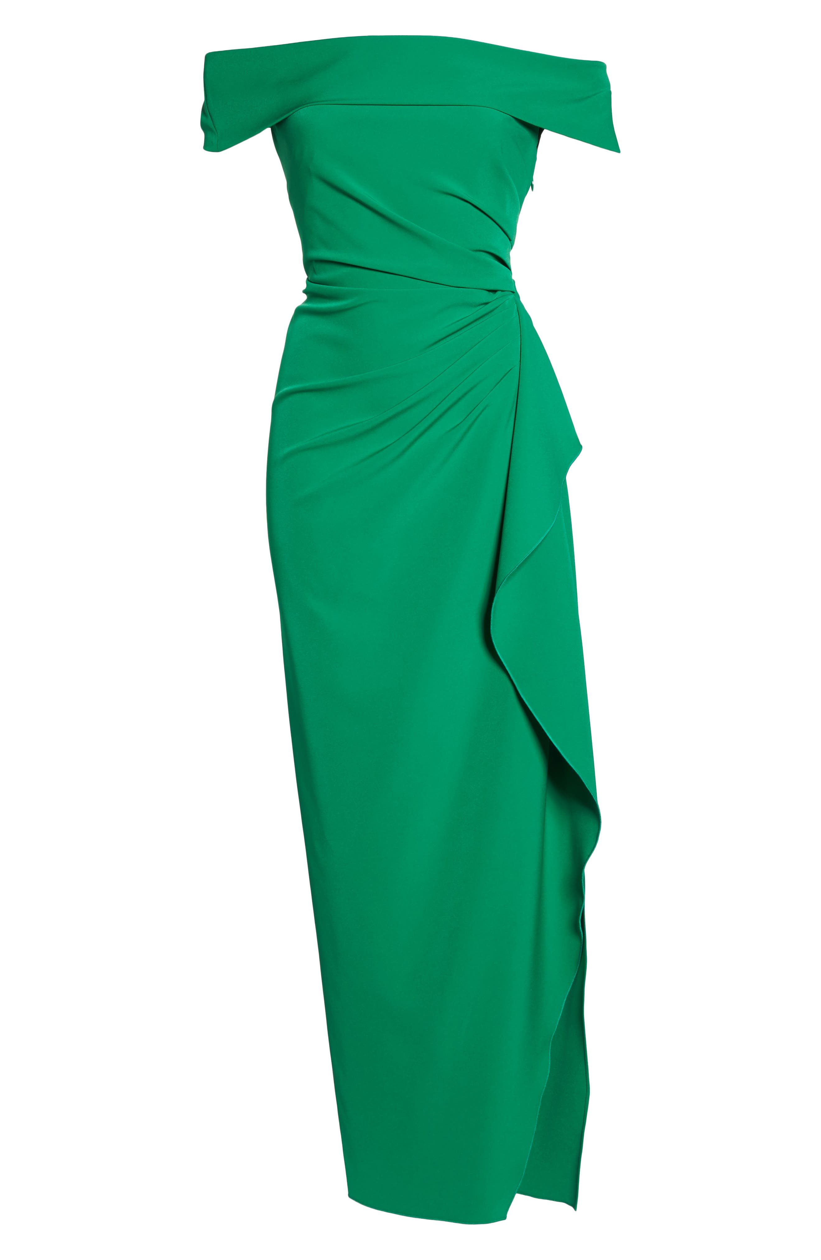 Off the Shoulder Crepe Gown,                             Alternate thumbnail 6, color,                             Green