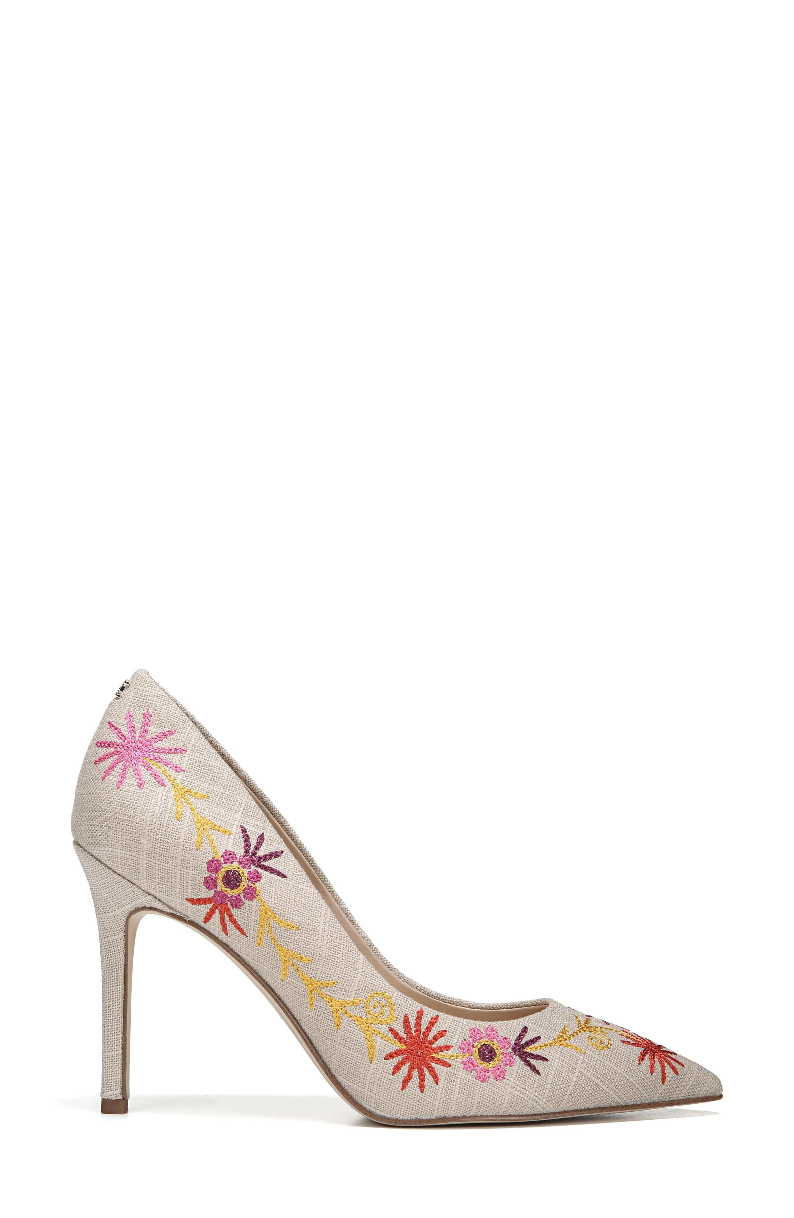 Hazel Pointy Toe Pump,                             Alternate thumbnail 3, color,                             Yellow Embroidery Suede