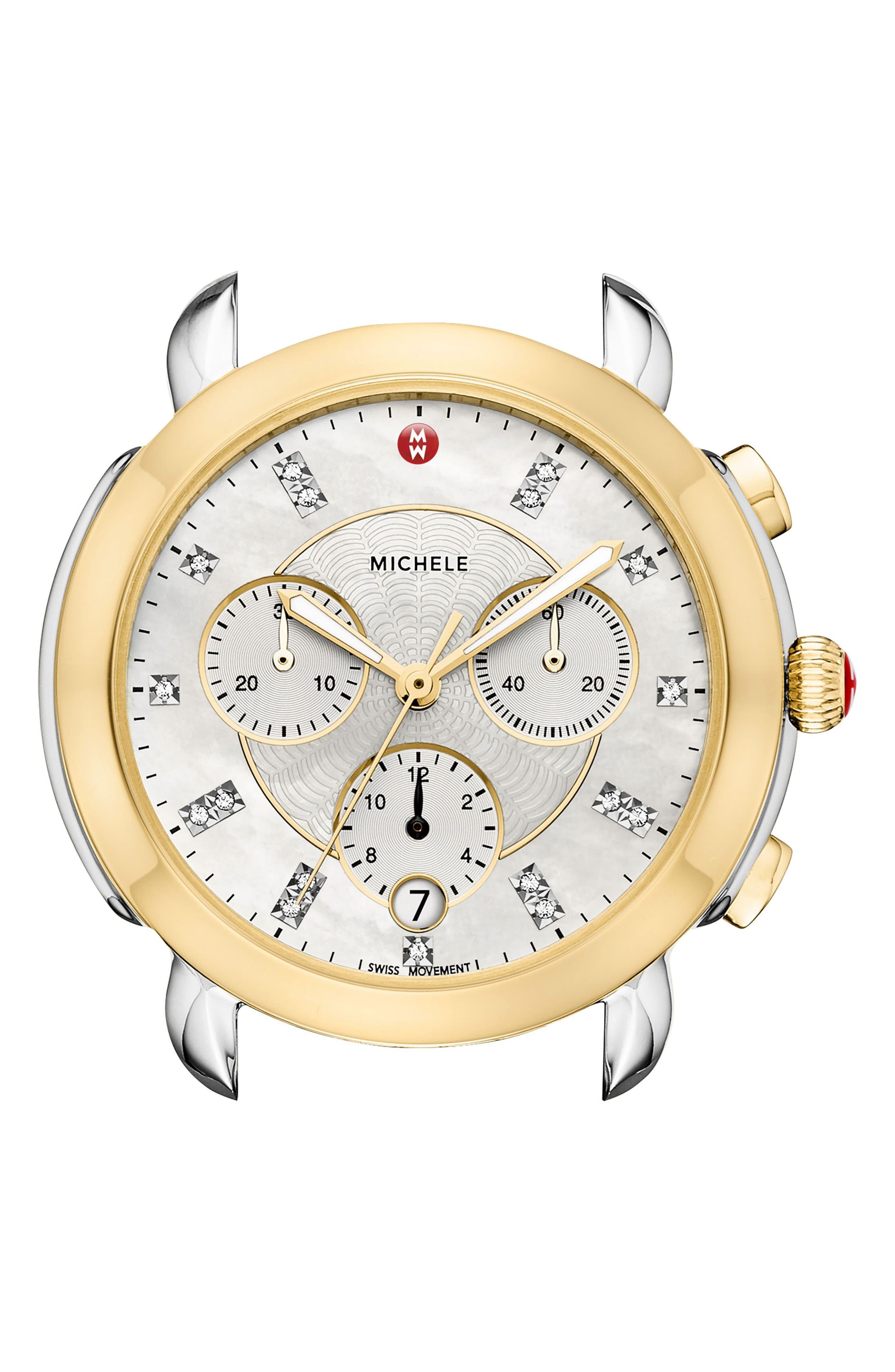 Sidney Chronograph Diamond Watch Head, 38mm,                         Main,                         color, Gold/ Mop/ Silver