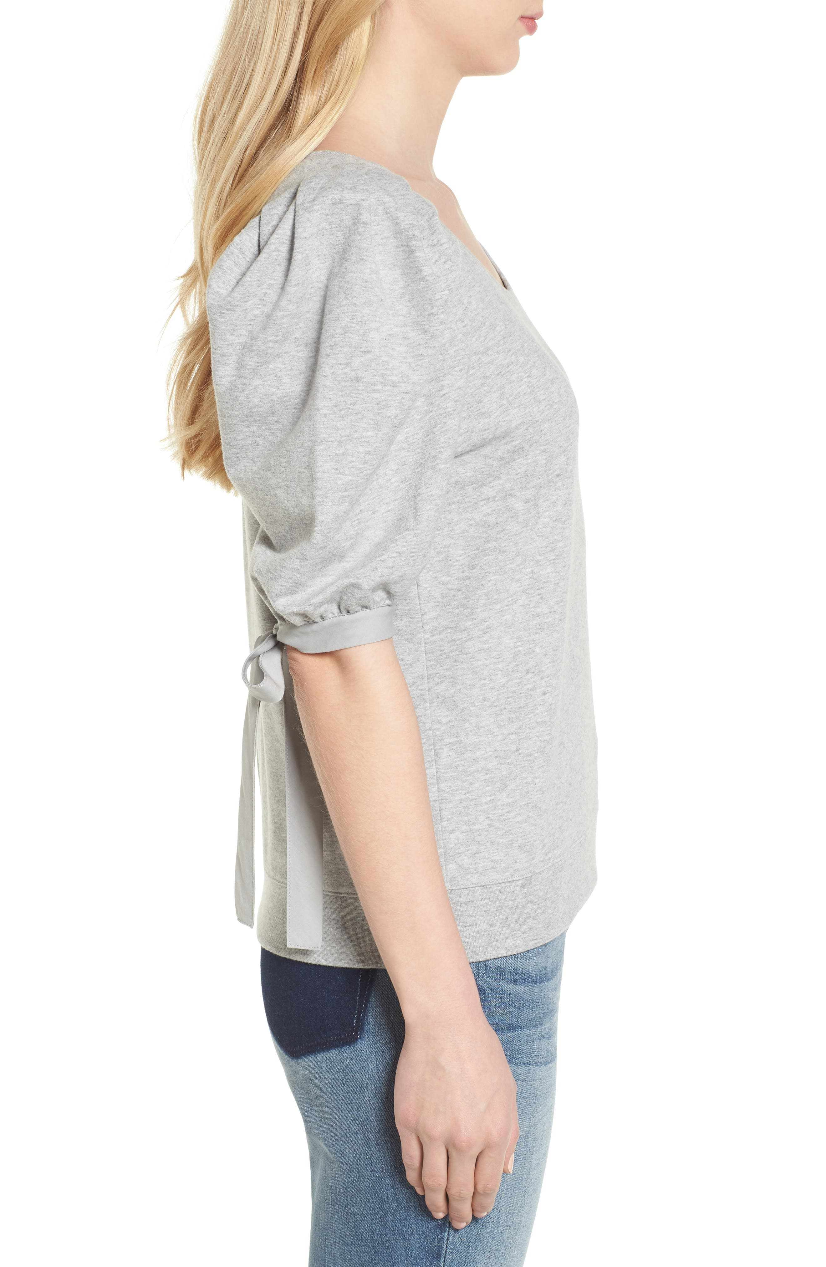 Puff Sleeve Top,                             Alternate thumbnail 3, color,                             Grey Heather