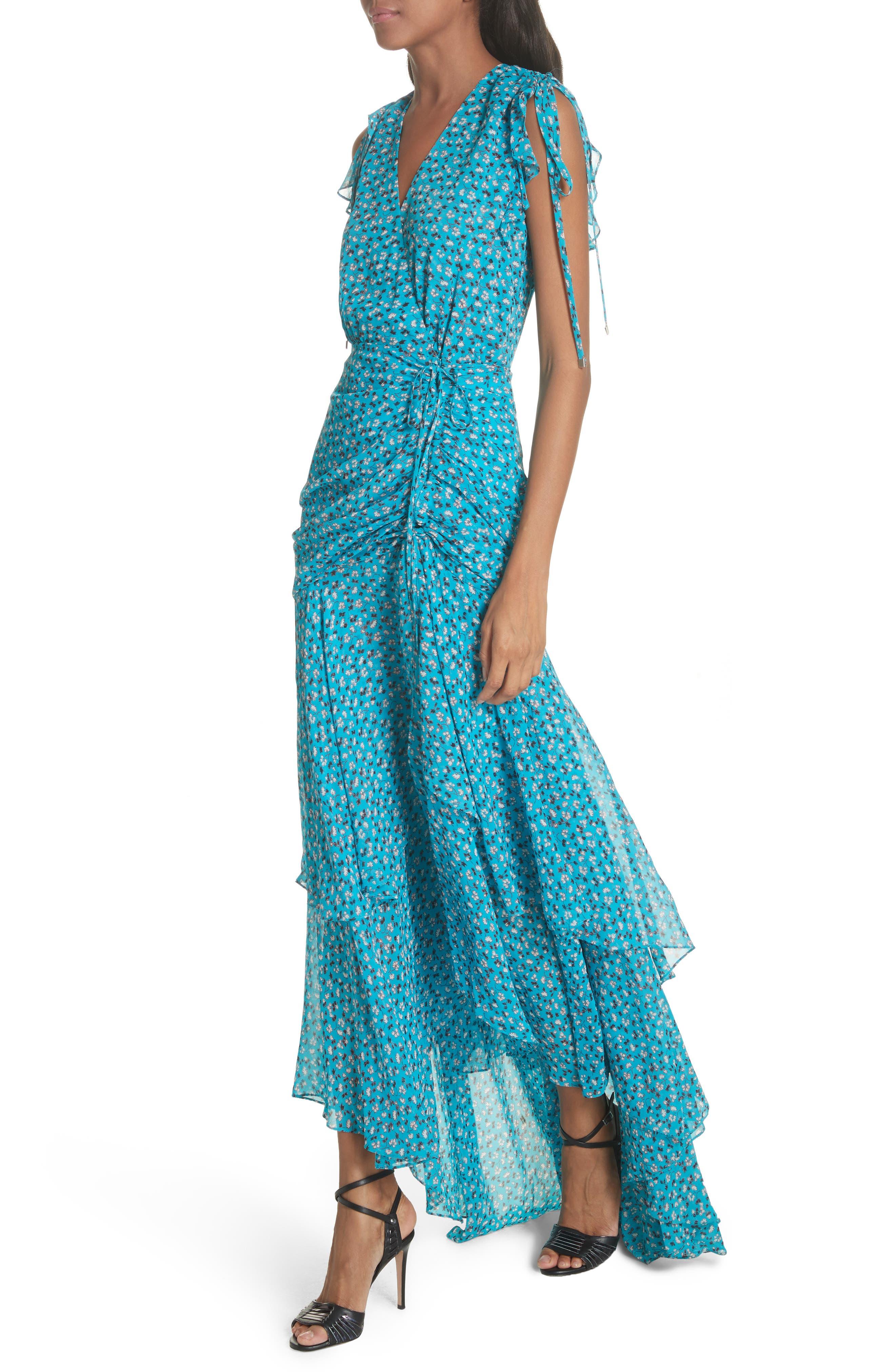 Samara Silk Dress,                             Alternate thumbnail 4, color,                             Blue