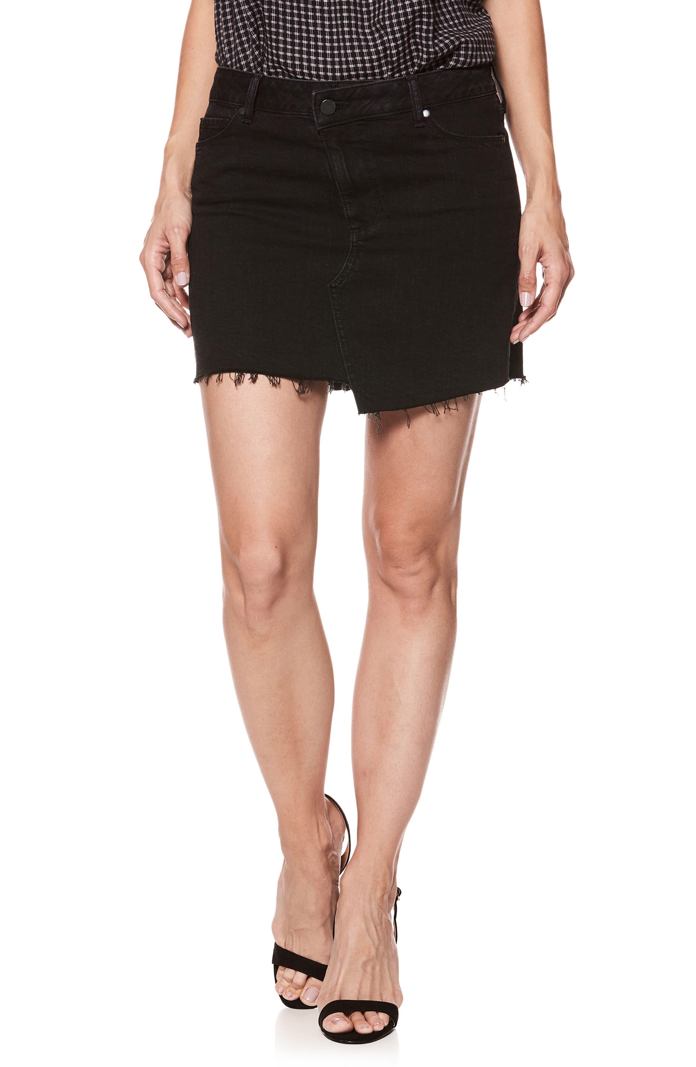 Afia Asymmetrical Step Hem Denim Miniskirt,                             Main thumbnail 1, color,                             Vintage Noir