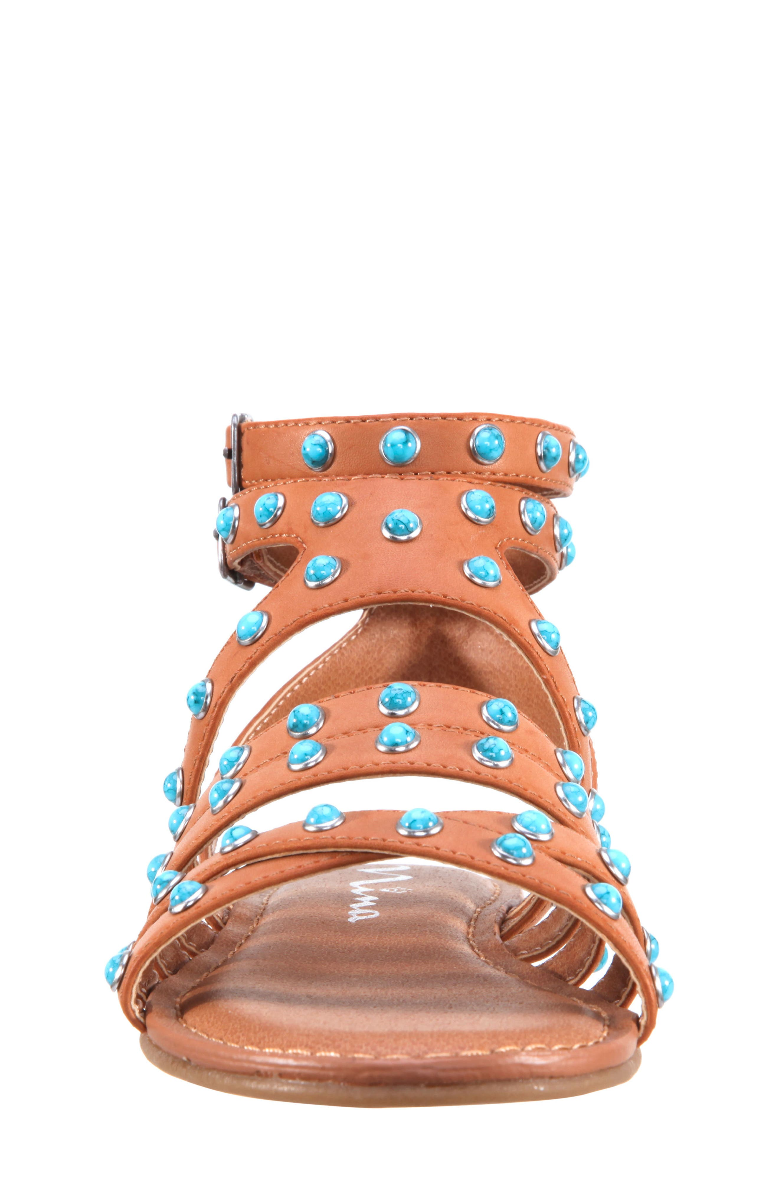 Tammara Studded Gladiator Sandal,                             Alternate thumbnail 4, color,                             Tan Burnished