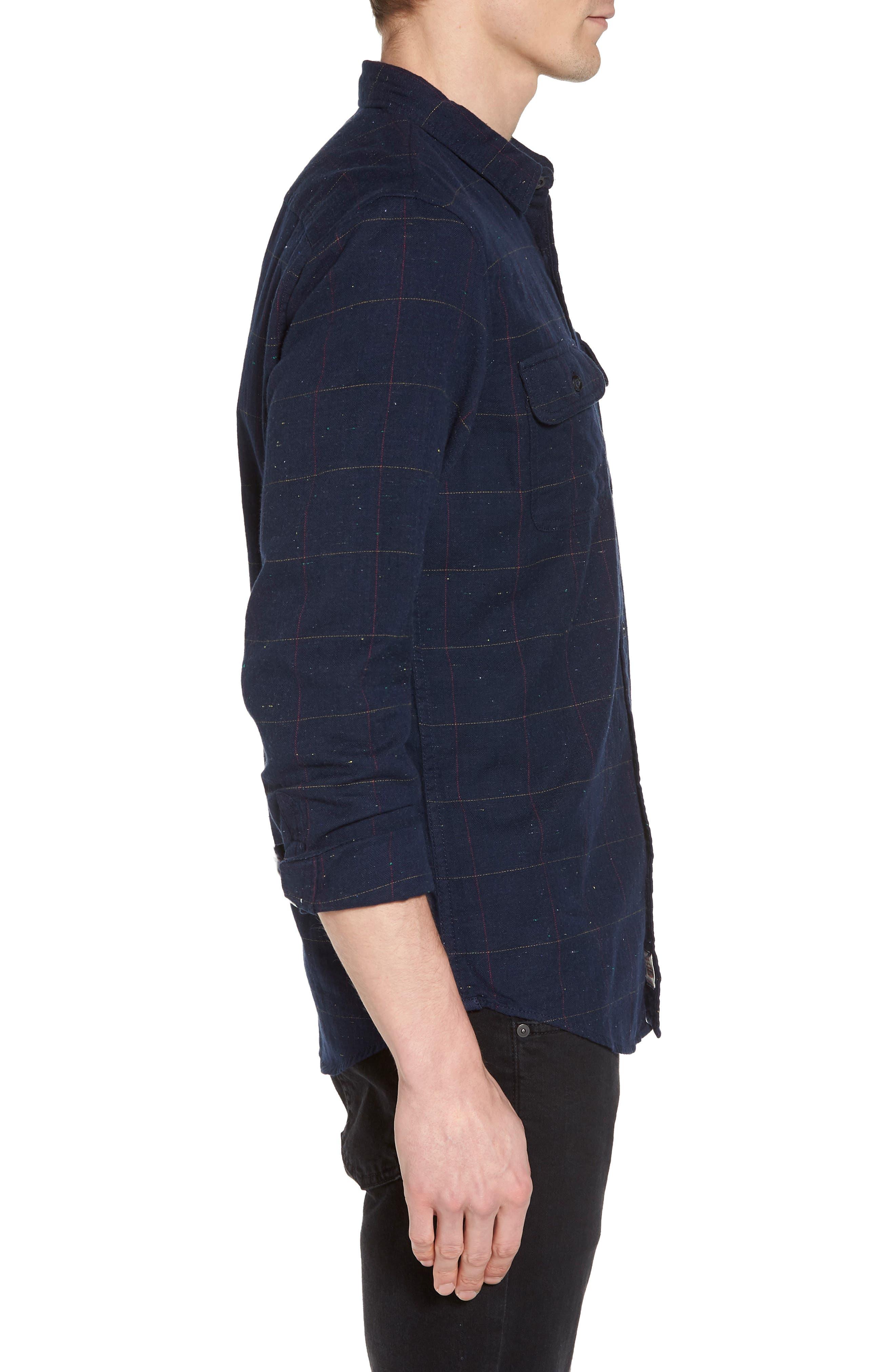 Herringbone Plaid Flannel Shirt,                             Alternate thumbnail 3, color,                             Black - White Nepped Tartan