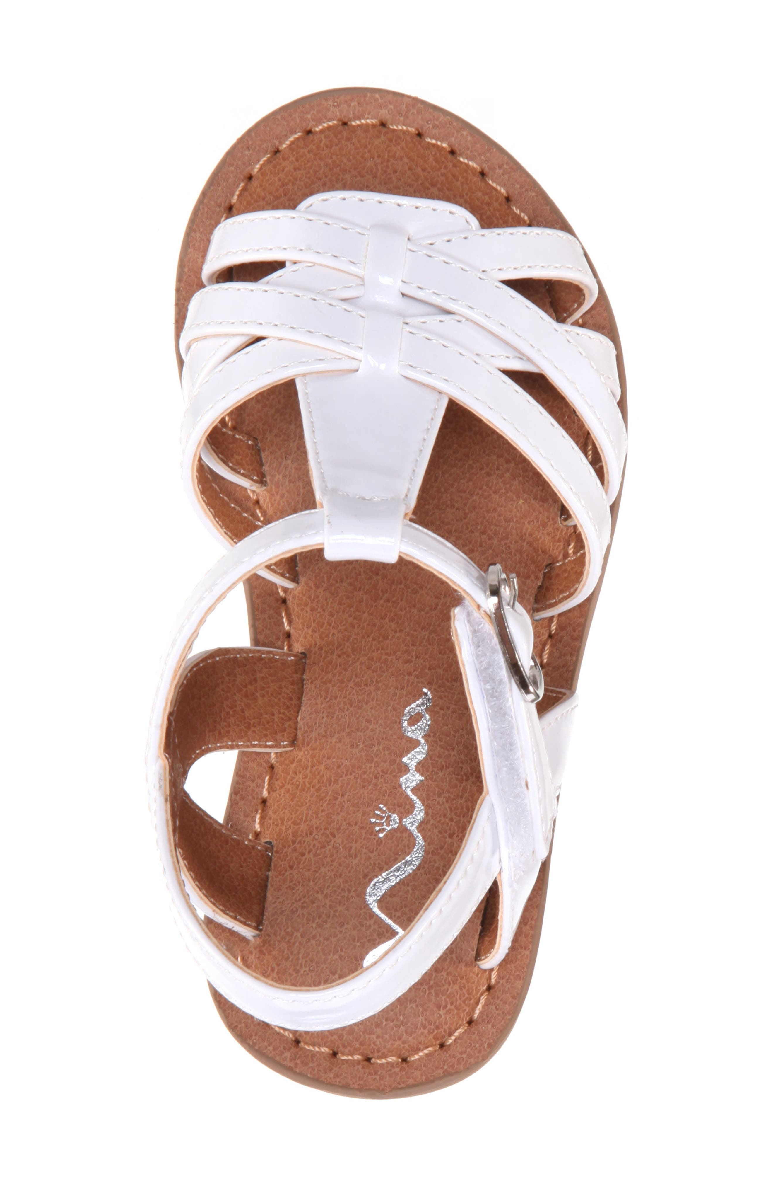 Thereasa Ankle Strap Sandal,                             Alternate thumbnail 5, color,                             White Patent