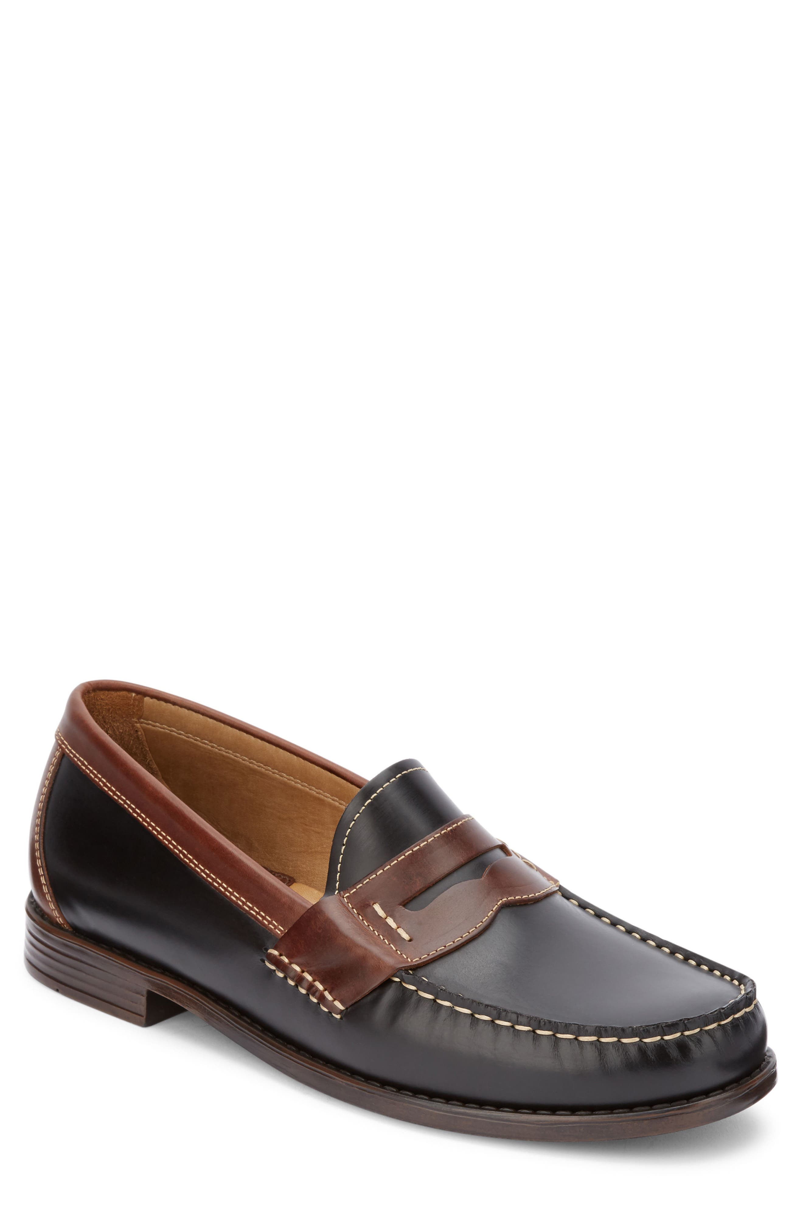Wagner Penny Loafer,                             Main thumbnail 1, color,                             Black/ Dark Brown Leather