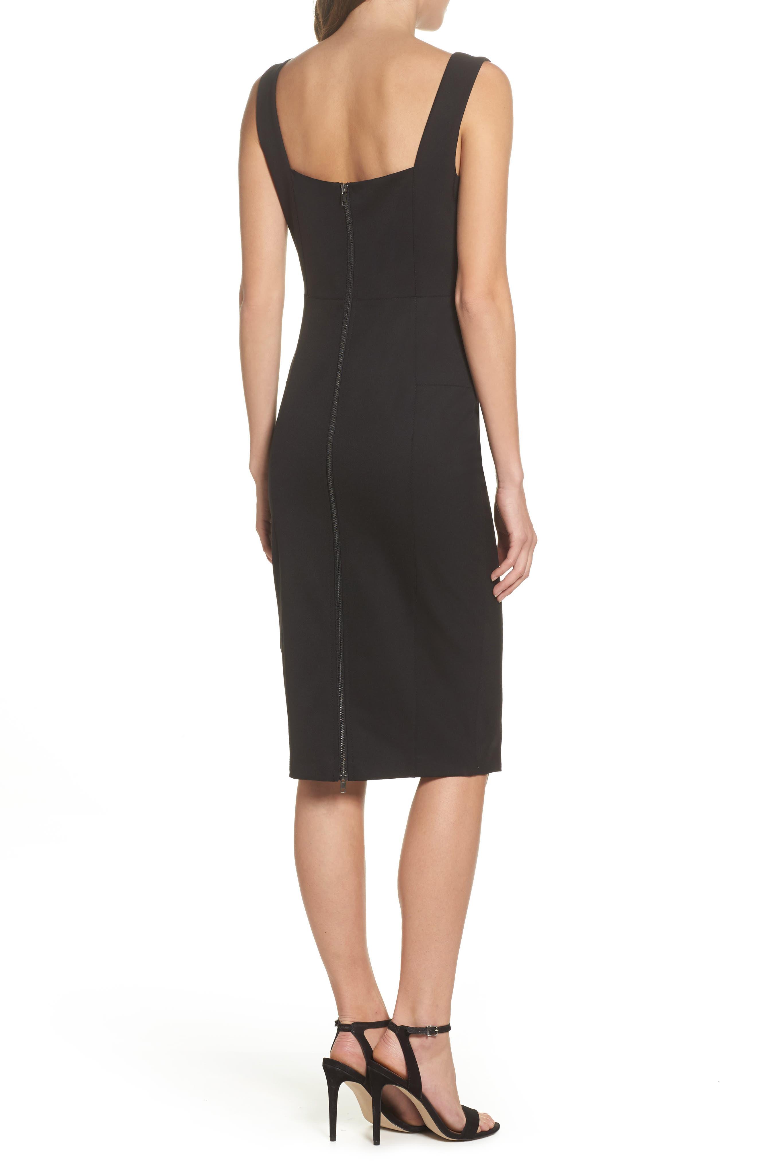 Mirren Midi Body-Con Dress,                             Alternate thumbnail 2, color,                             Black