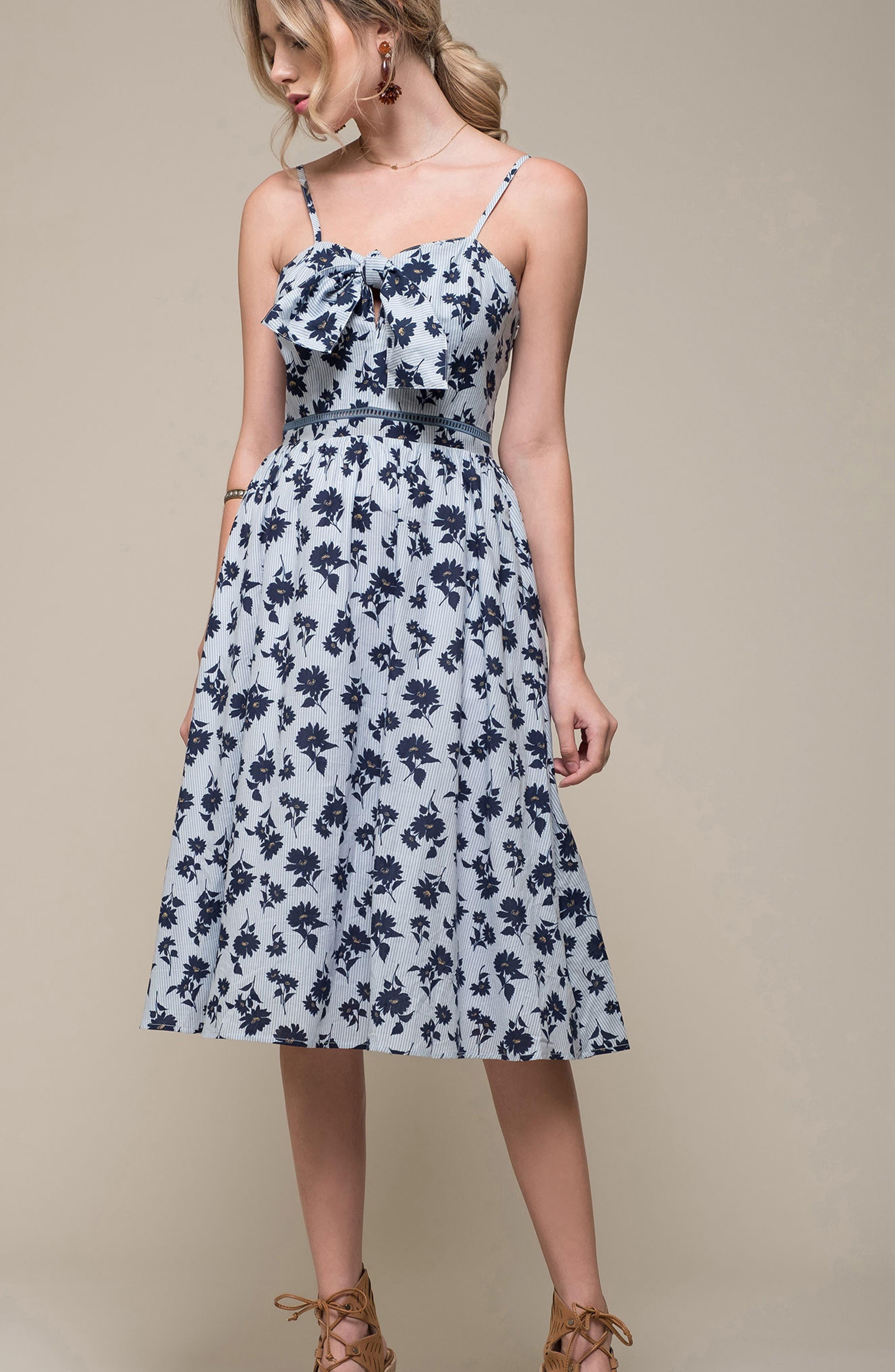 Floral Cotton Fit & Flare Dress,                             Alternate thumbnail 2, color,                             Sky Stripe