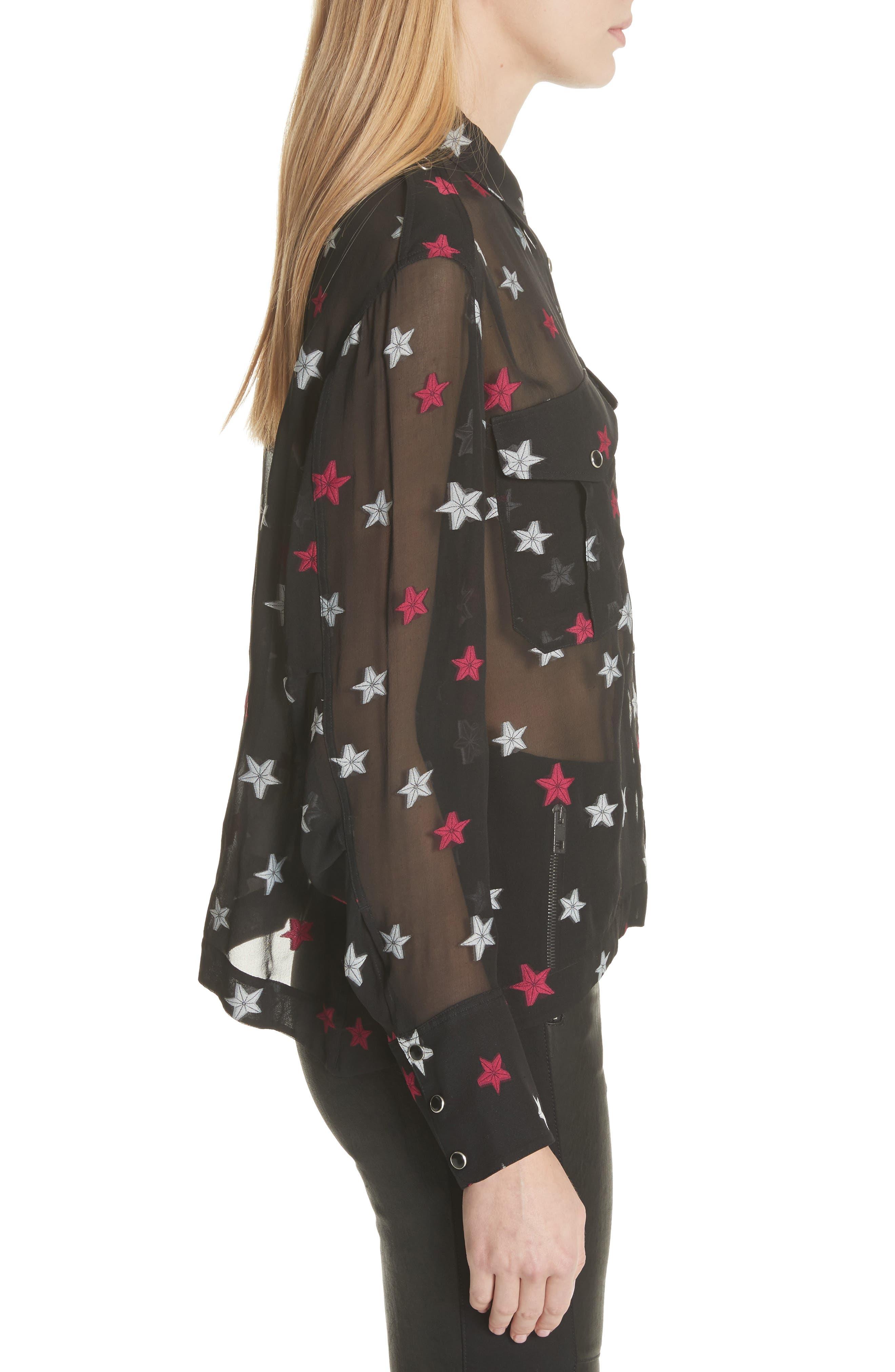 Pearson Star Print Silk Blend Shirt,                             Alternate thumbnail 4, color,                             Black Multi