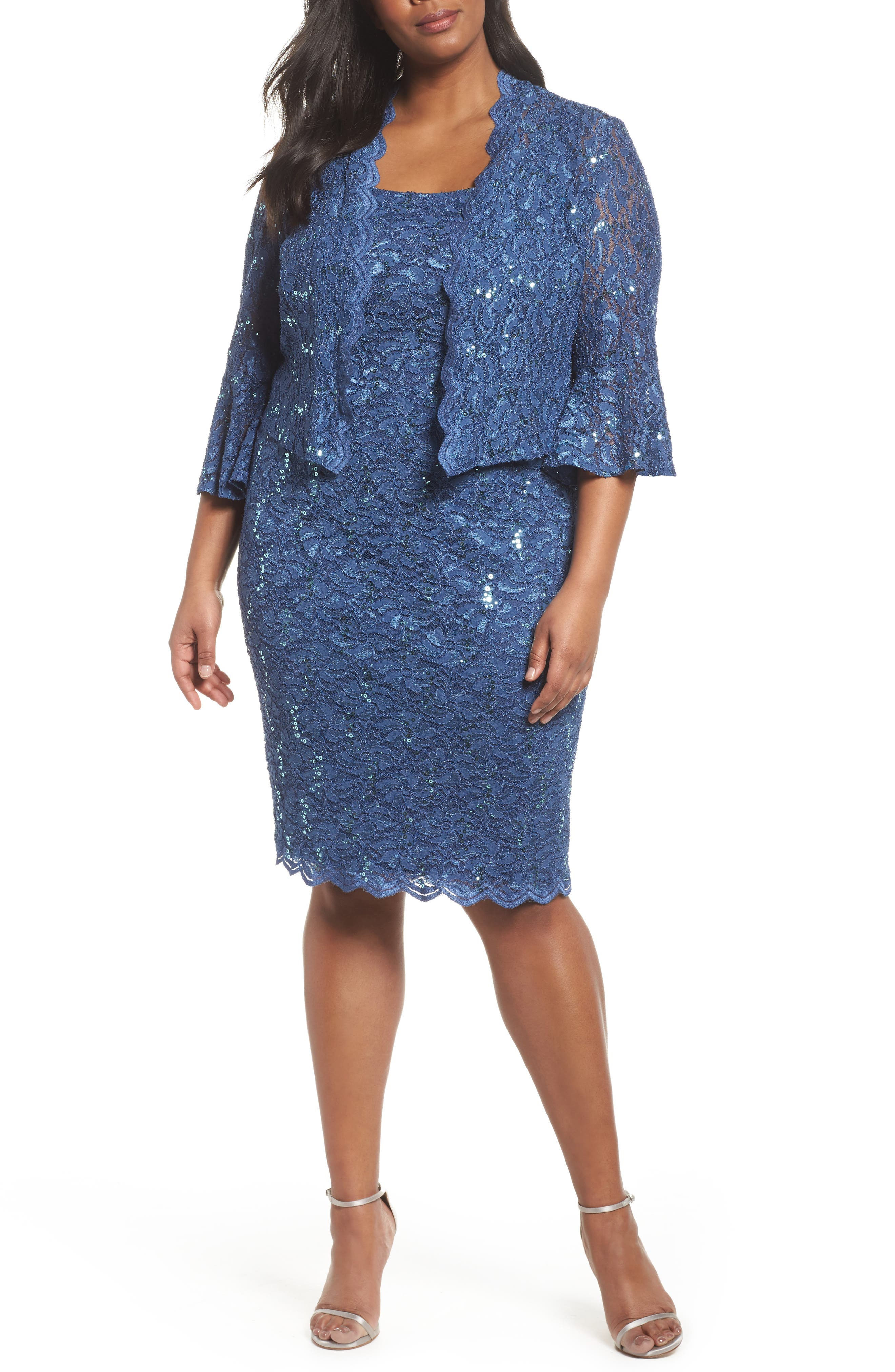 Sequin Lace Sheath Dress with Jacket,                         Main,                         color, Wedgewood
