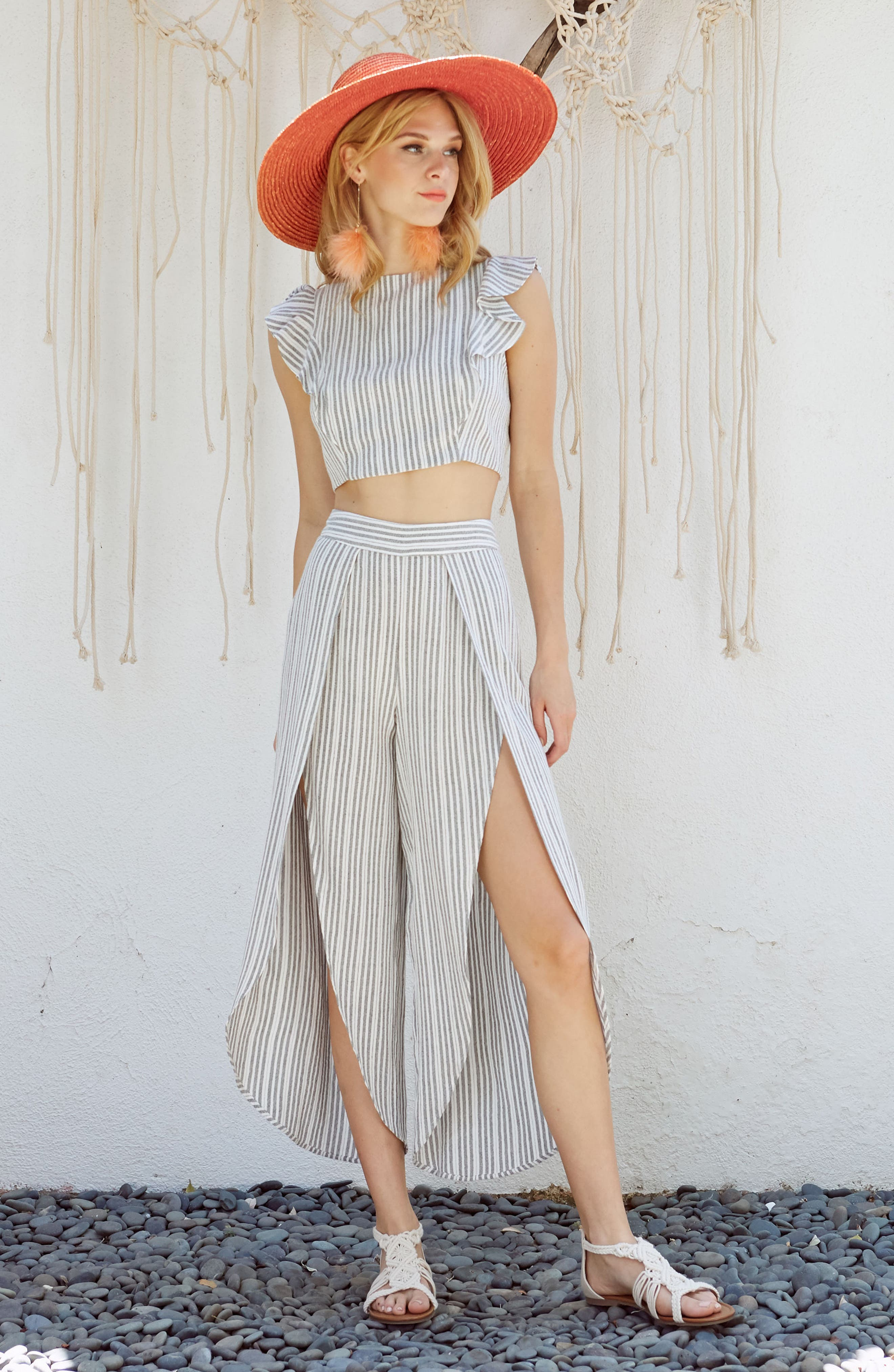 Kika Stripe Split Culottes,                             Alternate thumbnail 2, color,                             Grey