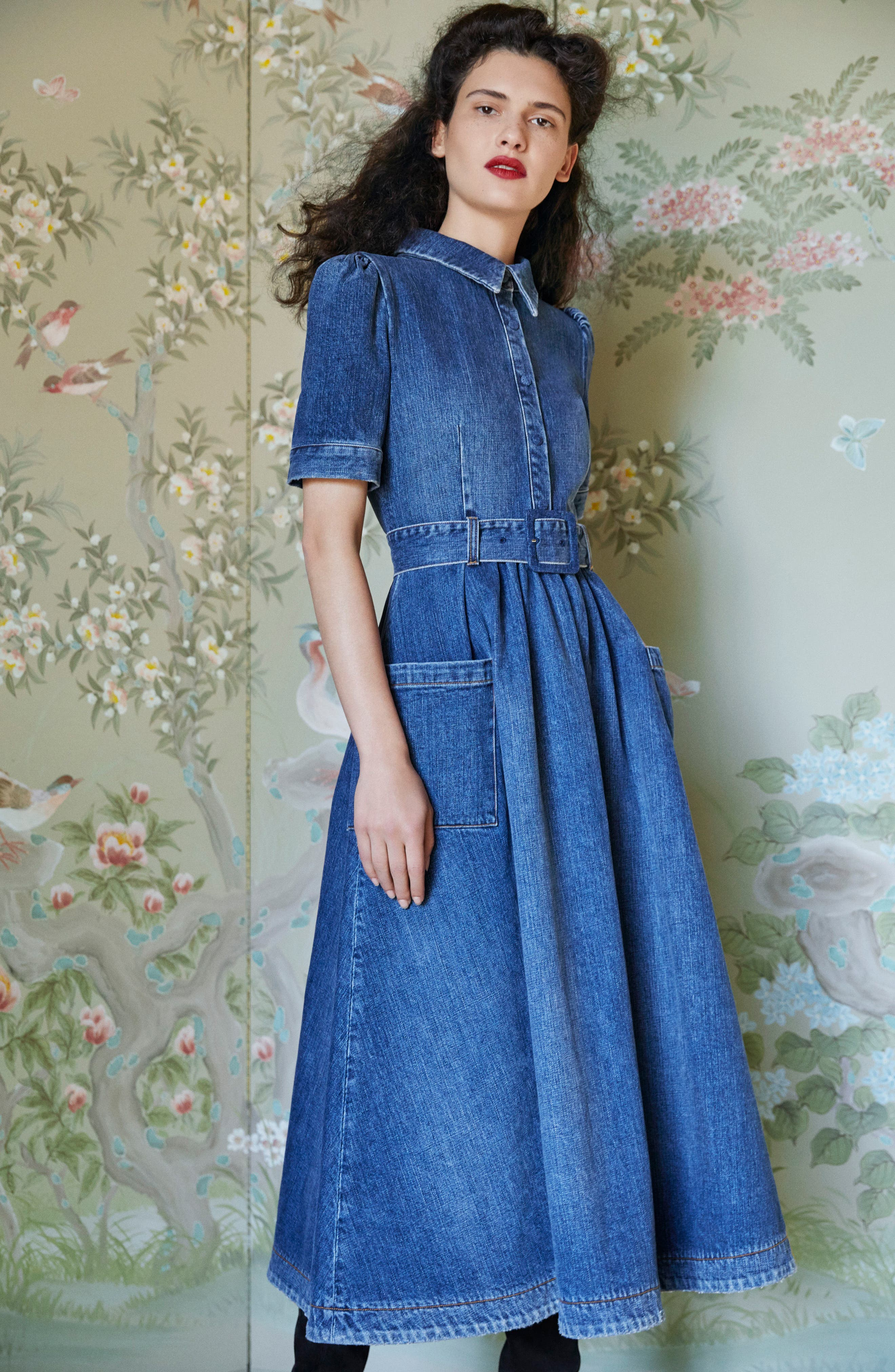 Denim Fit & Flare Midi Dress,                             Alternate thumbnail 2, color,                             Indigo