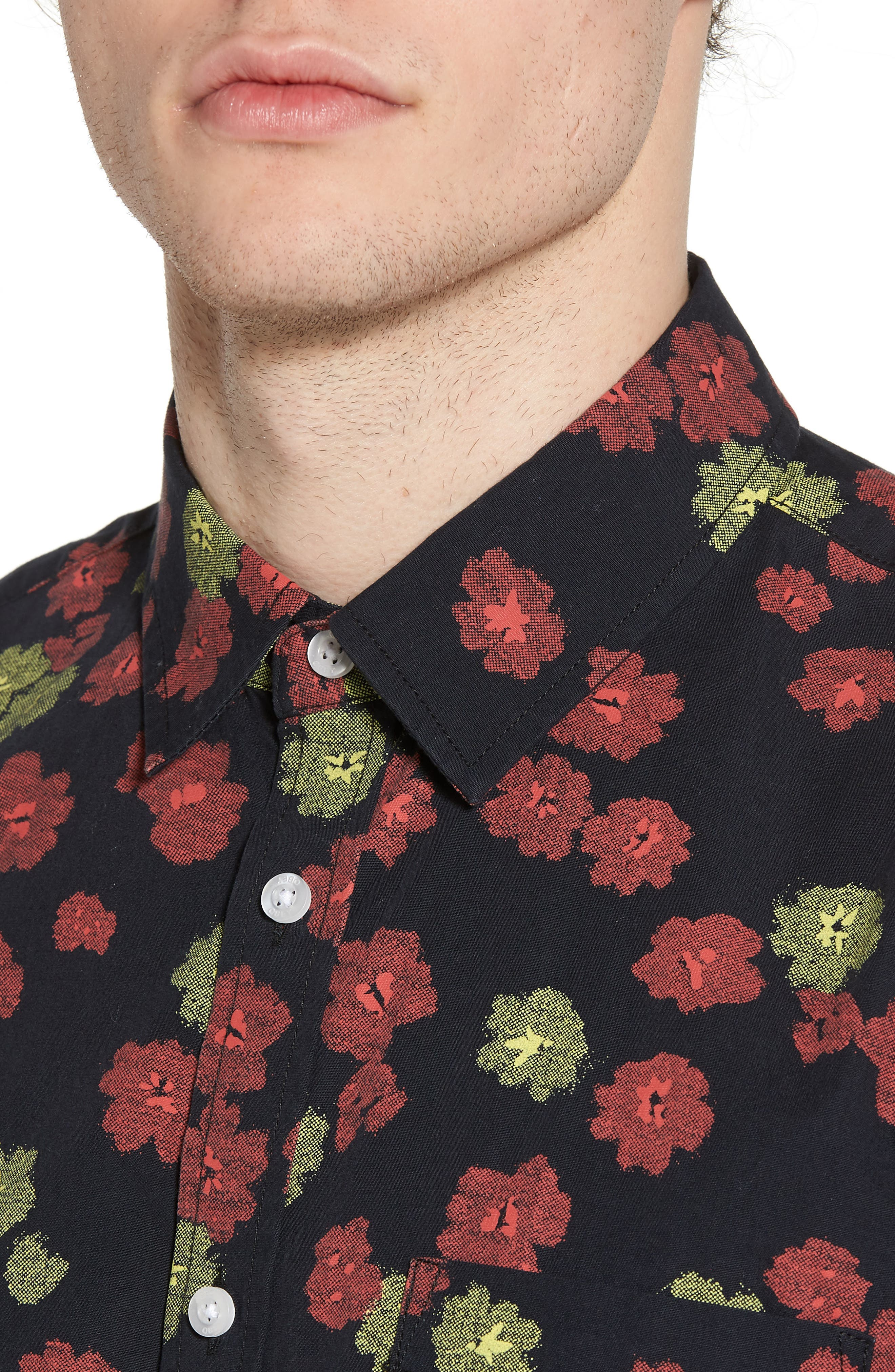 Felix Poplin Shirt,                             Alternate thumbnail 4, color,                             Black Multi
