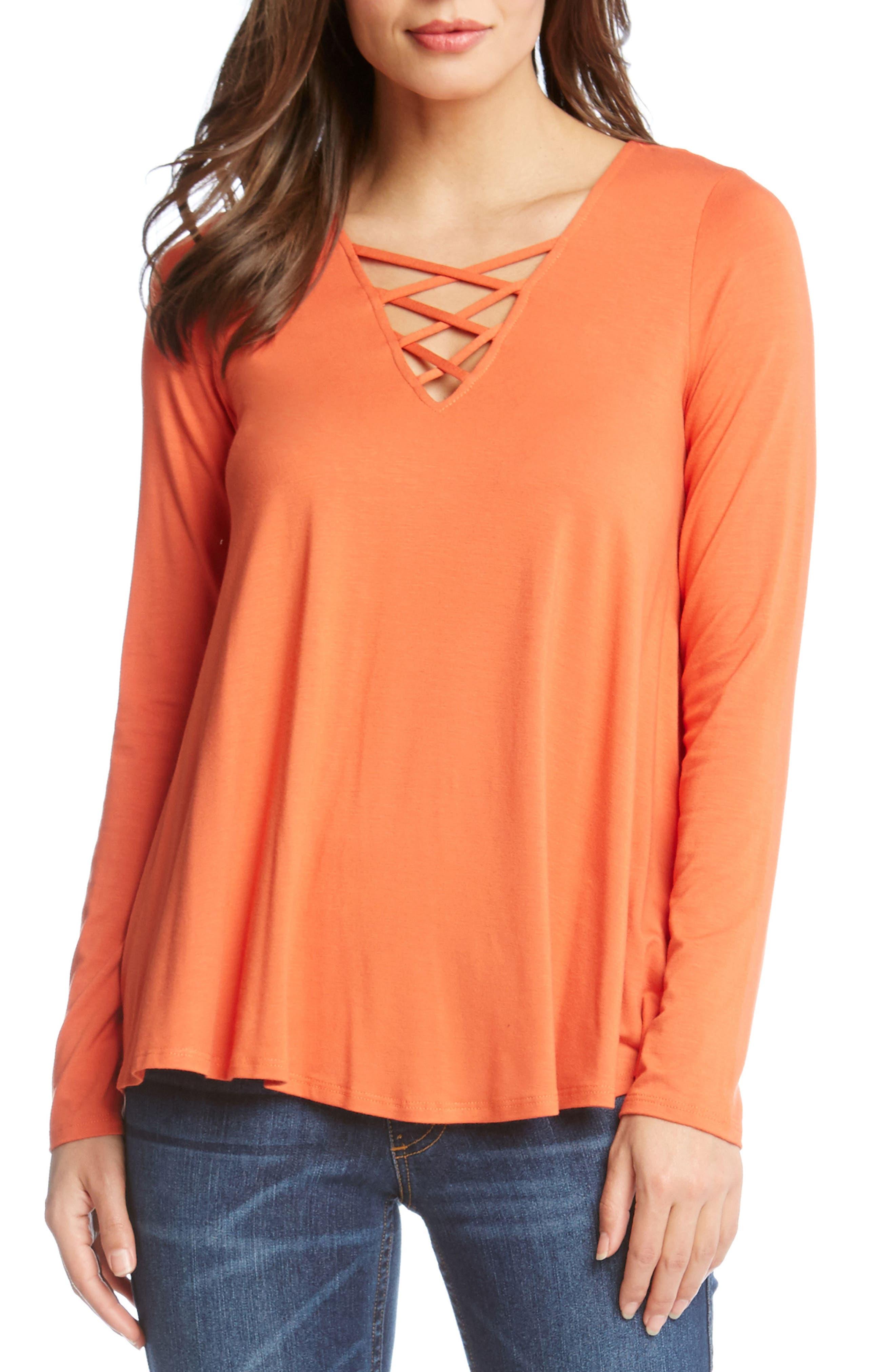 Crisscross Neck Swing Top,                         Main,                         color, Orange